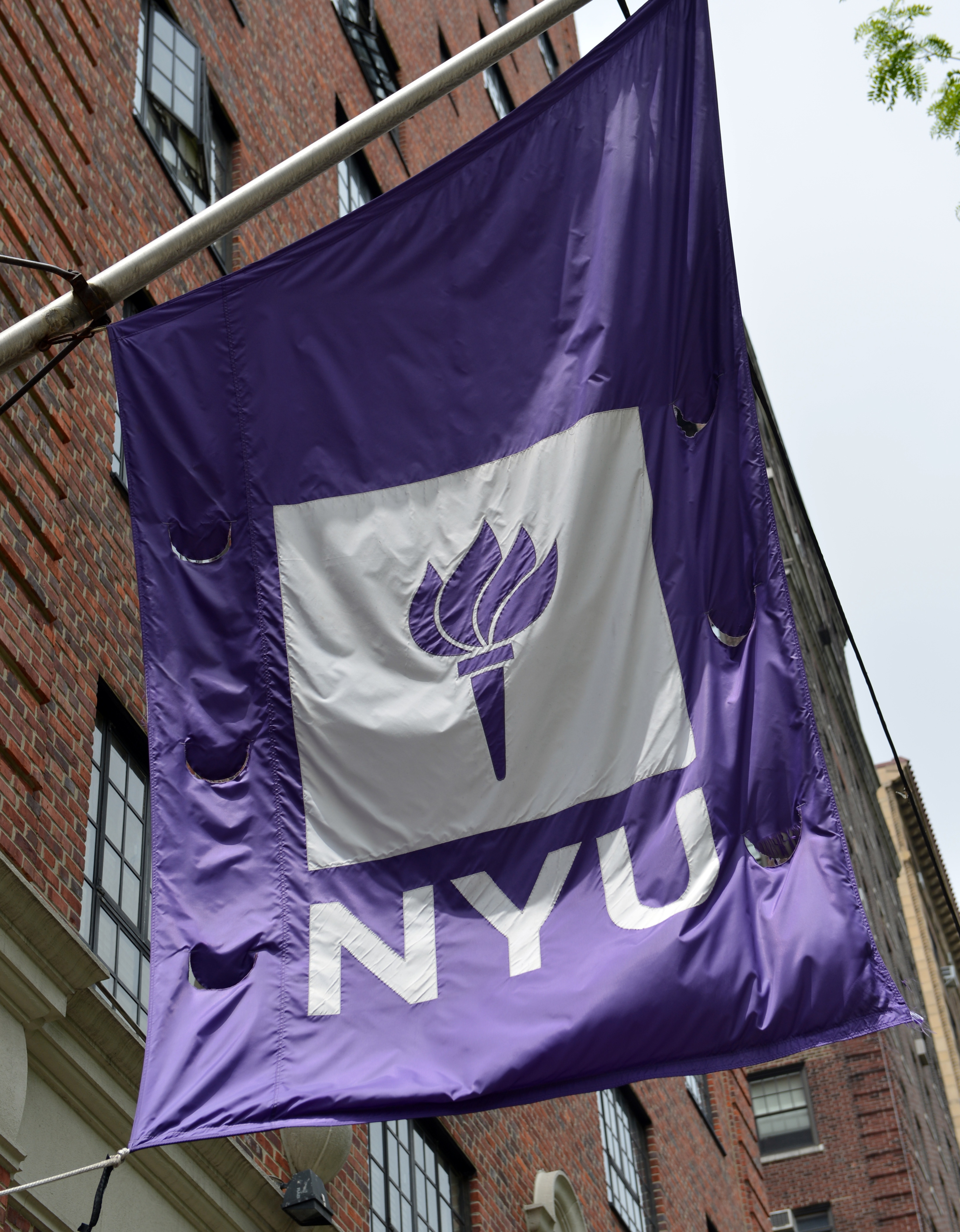 A flag flies from a building at New York University May 4, 2012 in New York.