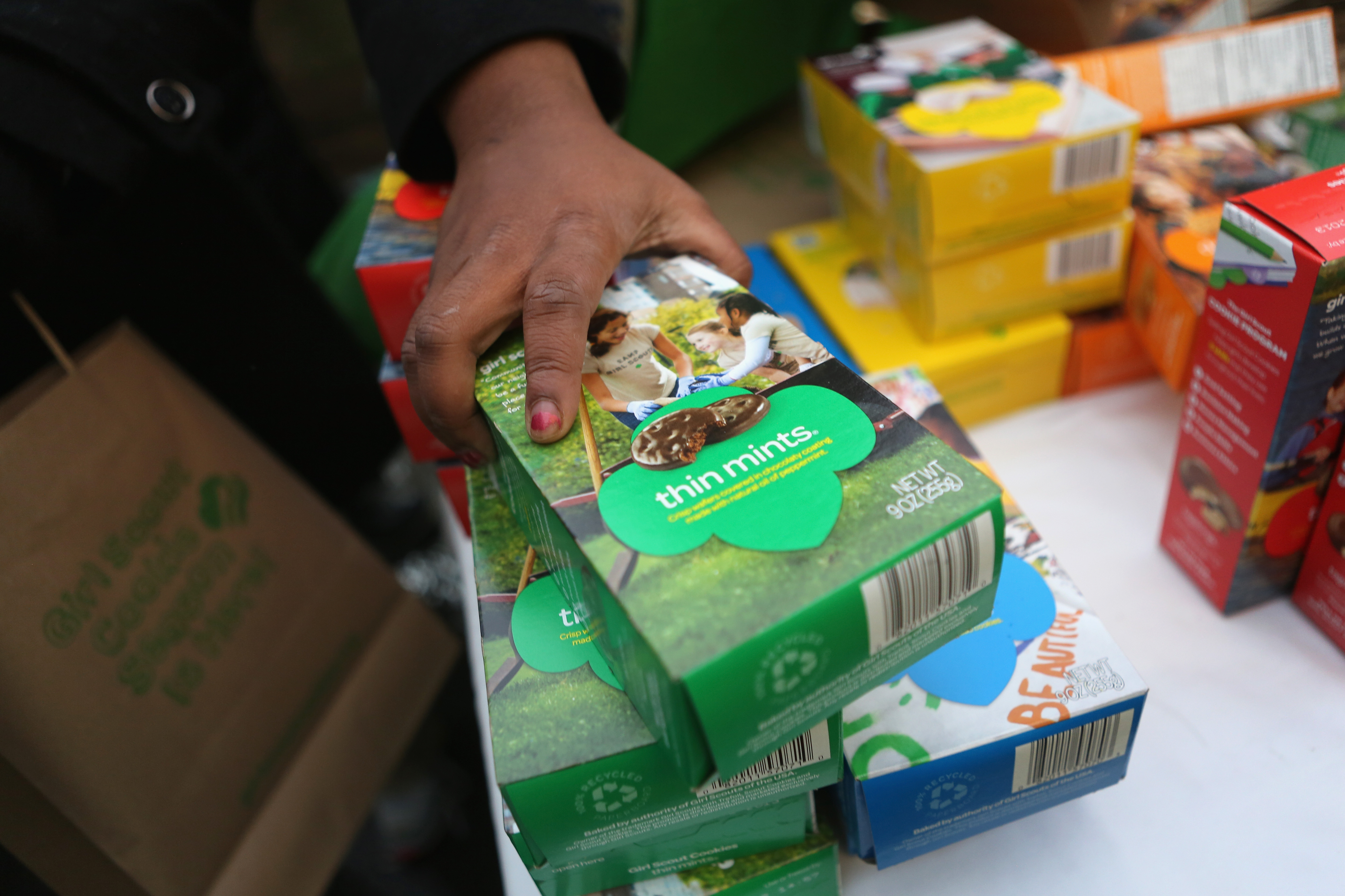 Girl Scouts sell cookies as a winter storm moves in on Feb. 8, 2013, in New York City