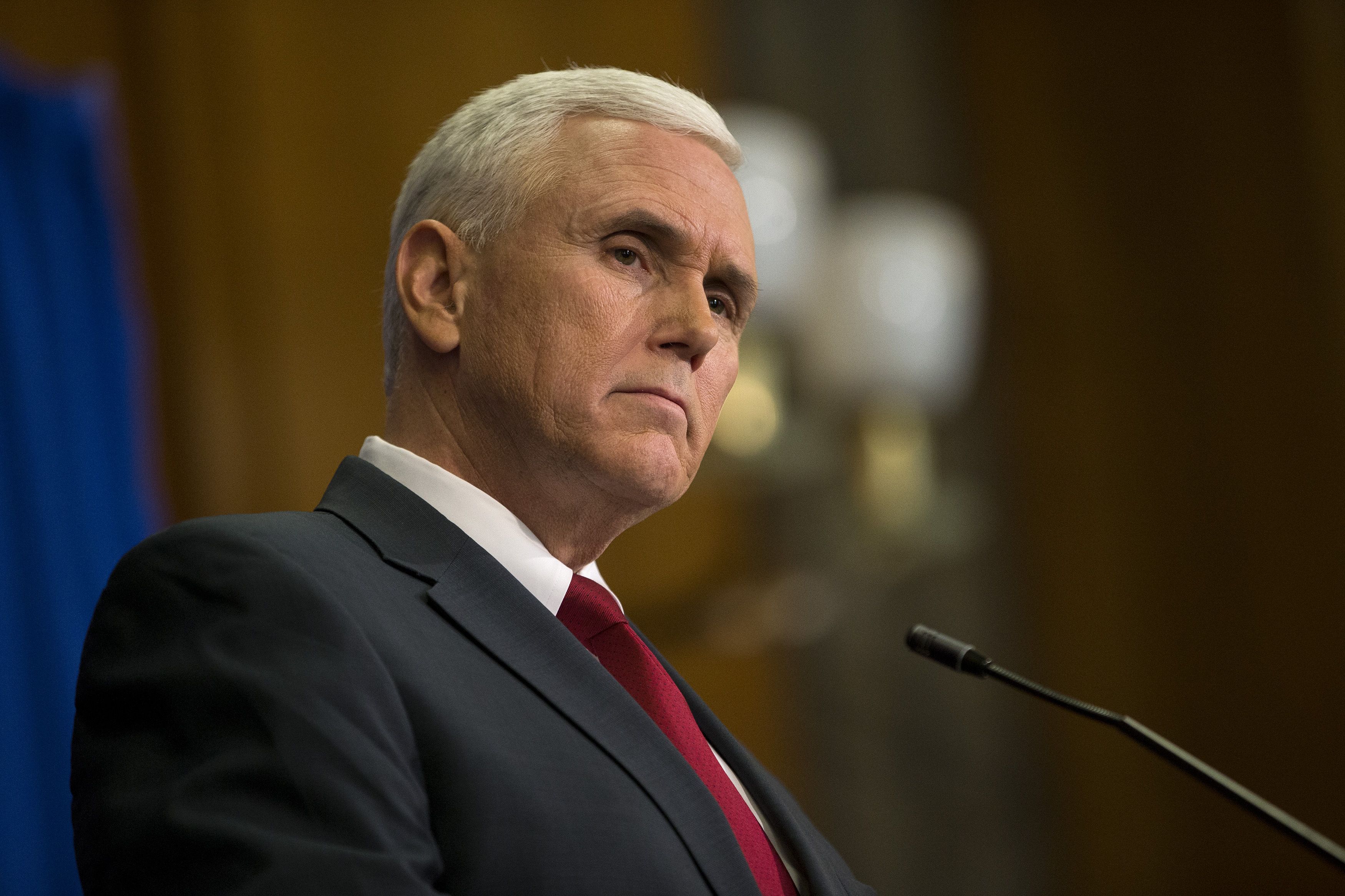 Indiana Gov. Mike Pence speaks during a press conference March 31, 2015 at the Indiana State Library in Indianapolis, Indiana. Pence spoke about the state's controversial Religious Freedom Restoration Act which has been condemned by business leaders and Democrats.