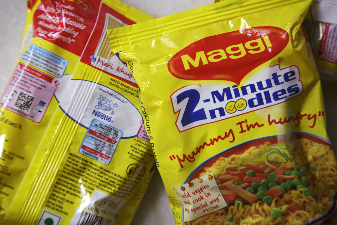 Packets of Maggi 2-Minute Noodles, manufactured by Nestle India Ltd., are arranged for a photograph in New Delhi, India, on Monday, June 15, 2015.
