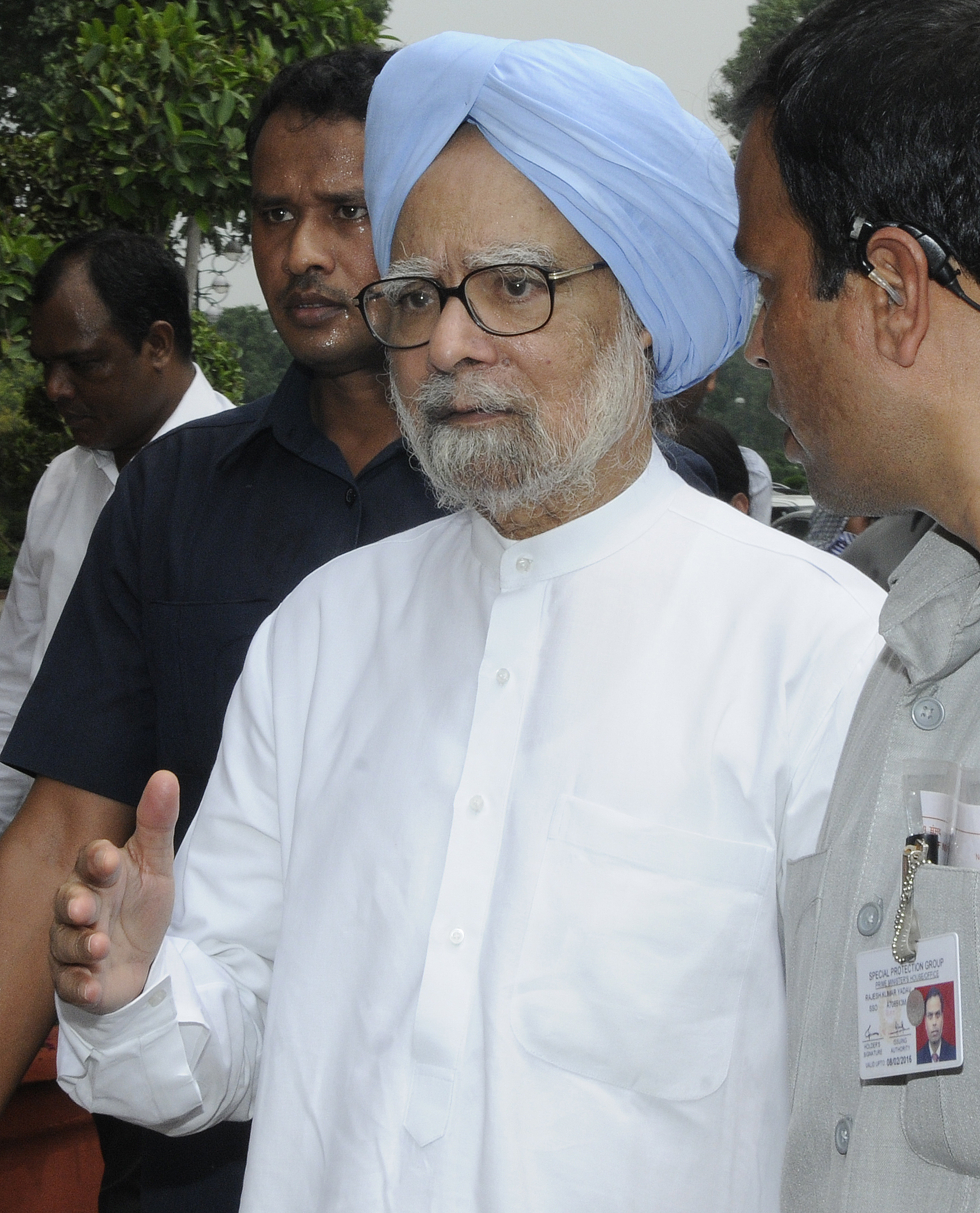 Former Indian Prime Minister Manmohan Singh after protest against Prime Minister Narendra Modi and the National Democratic Alliance government at Parliament House on Aug. 5, 2015, in New Delhi