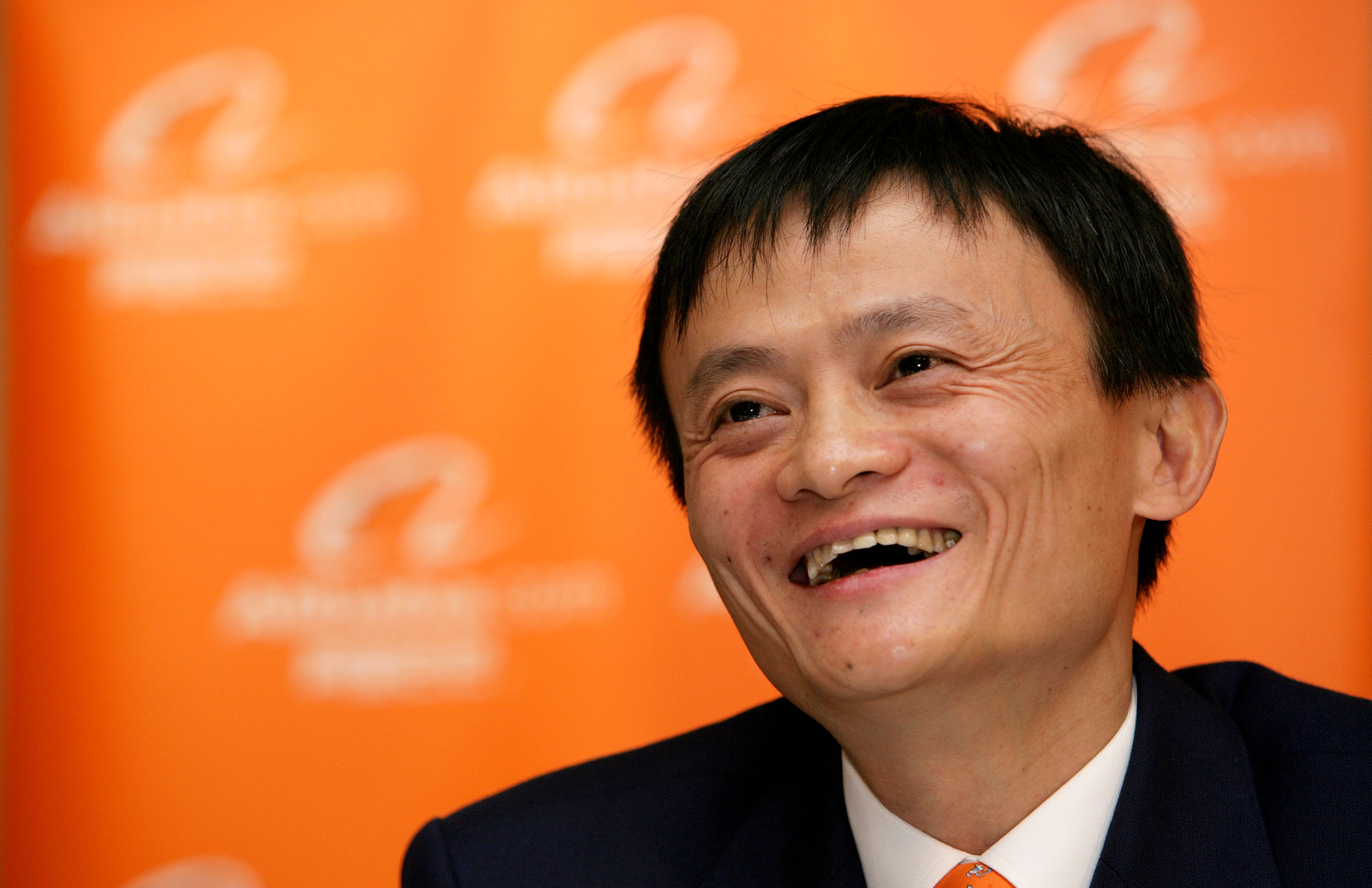 Jack Ma, chairman and then-chief executive officer of Alibaba Group Holding Ltd., laughs at a news conference in Hong Kong, China, on Tuesday, Nov. 6, 2007.
