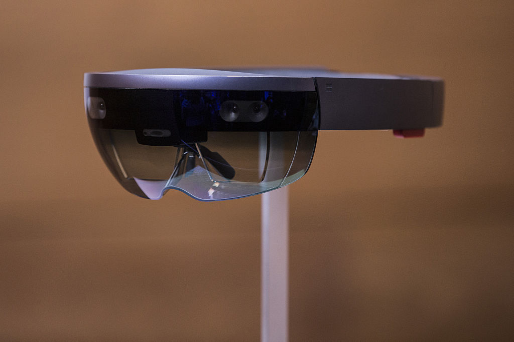 A new virtual reality gaming head set titled the Microsoft HoloLens sit on display at a media event for new Microsoft products on October 6, 2015 in New York City.