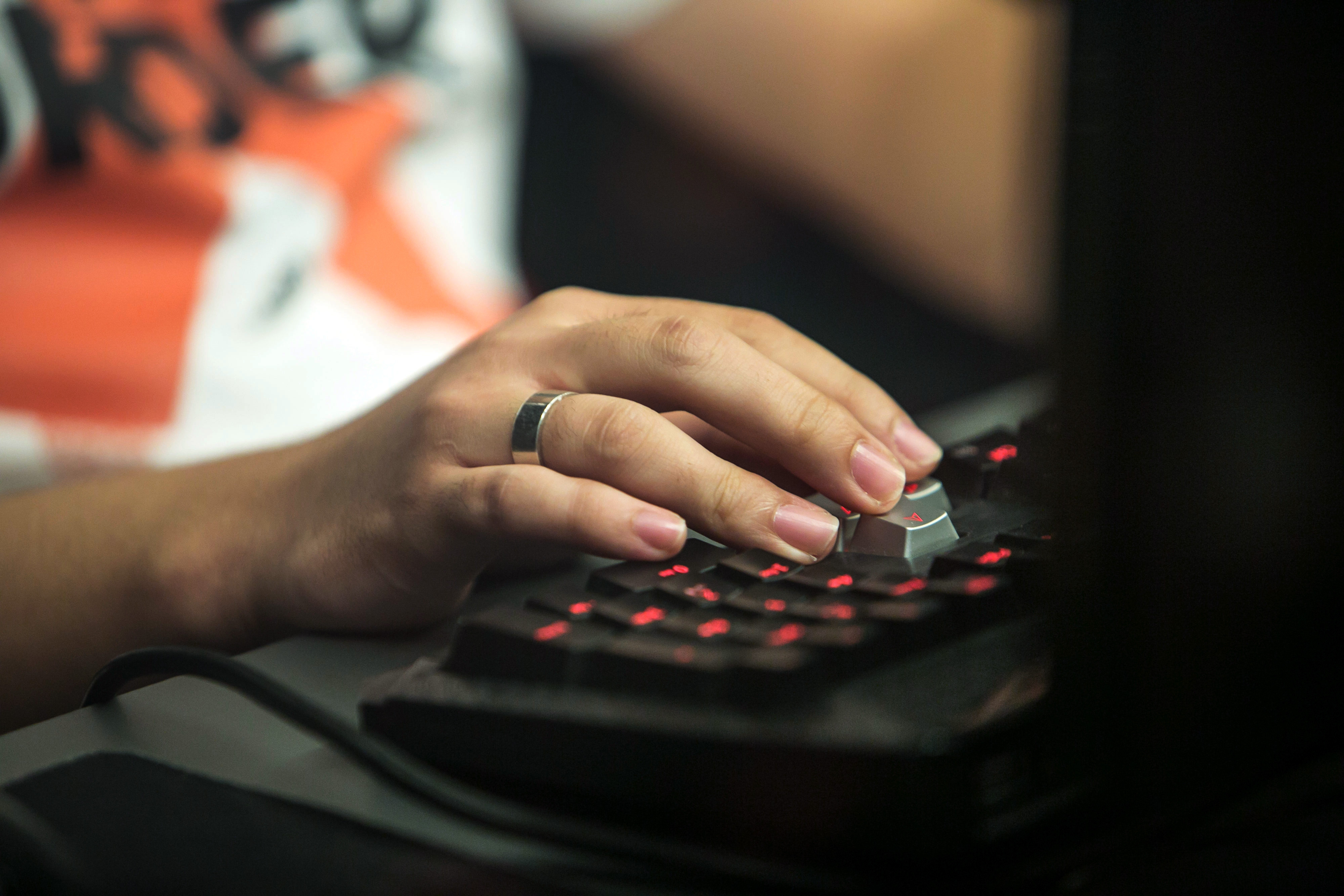 Jeong Se Hyun, a professional video-game player, uses a computer keyboard as he competes against Yang Jin Hyeob, not pictured, during the final round of the Electronic Arts Inc. (EA) Sports FIFA Online Championship at the Nexon Co. e-Sports Stadium in Seoul, South Korea, on Saturday, Oct. 17, 2015.