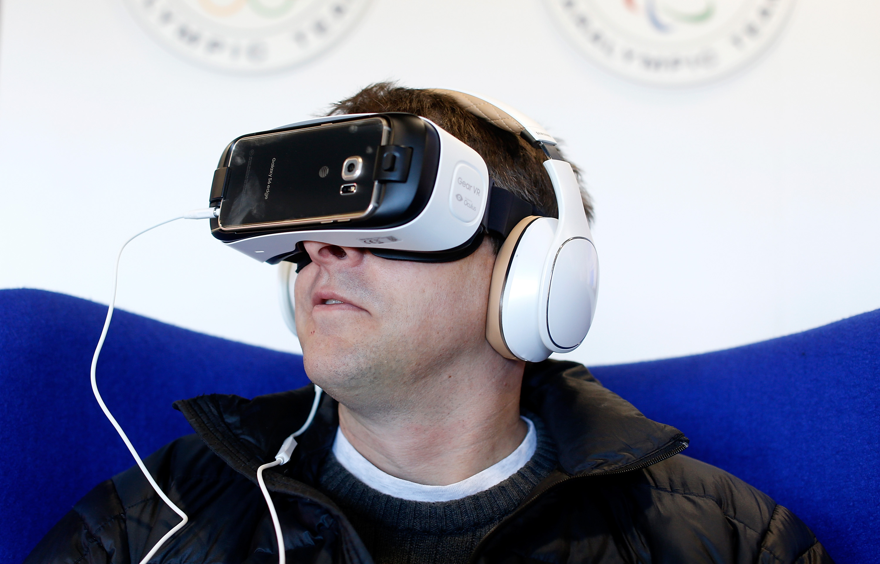 Fans attend Team USA's Virtual Reality Experience Powered by Samsung Gear VR during the 2015 Road to Rio Tour at the Head of the Charles Regatta on October 17, 2015 in Boston, Massachusetts.