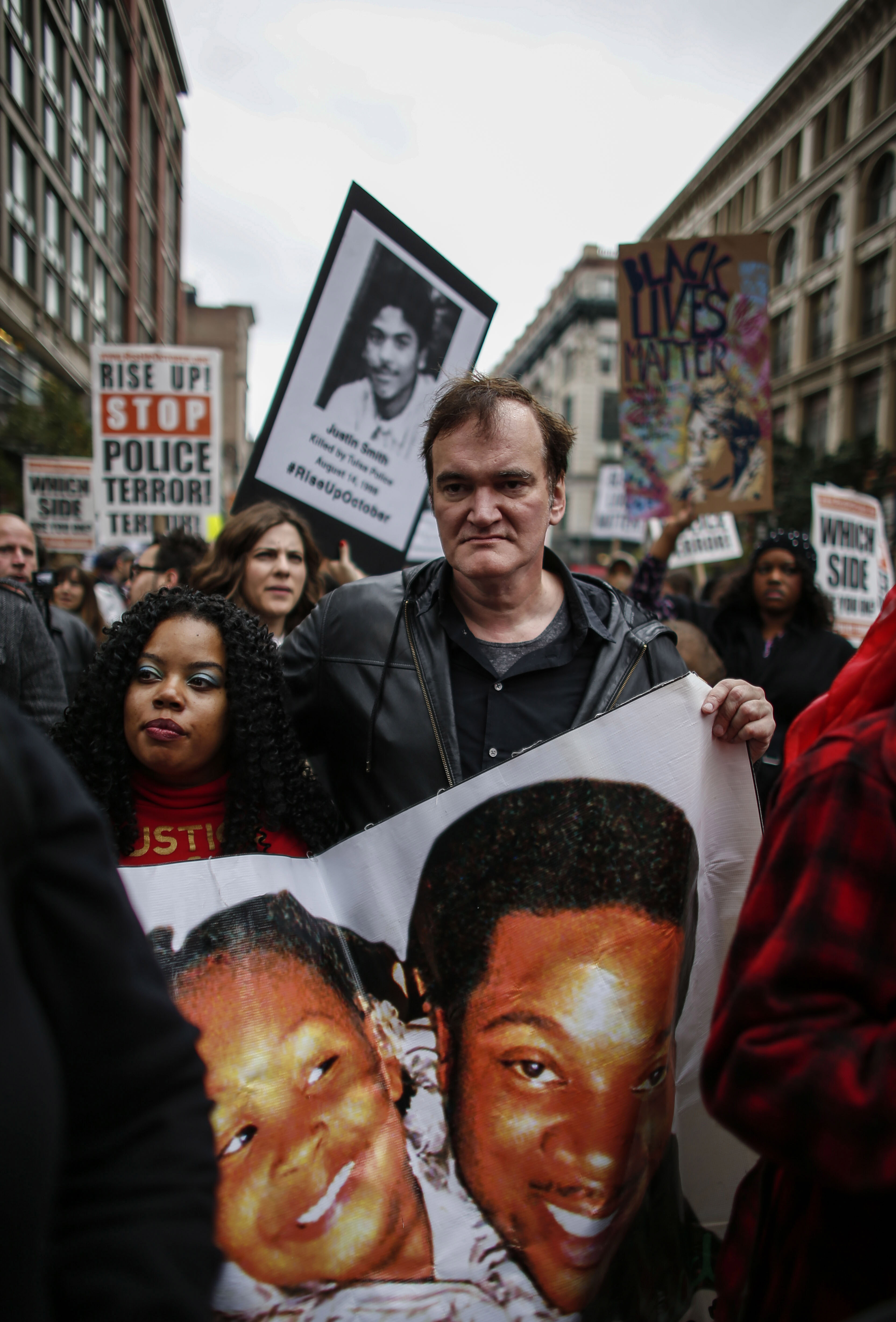 Director Quentin Tarantino attends a march to denounce police brutality in Washington Square Park October 24, 2015 in New York City. (Kena Betancur--Getty Images)