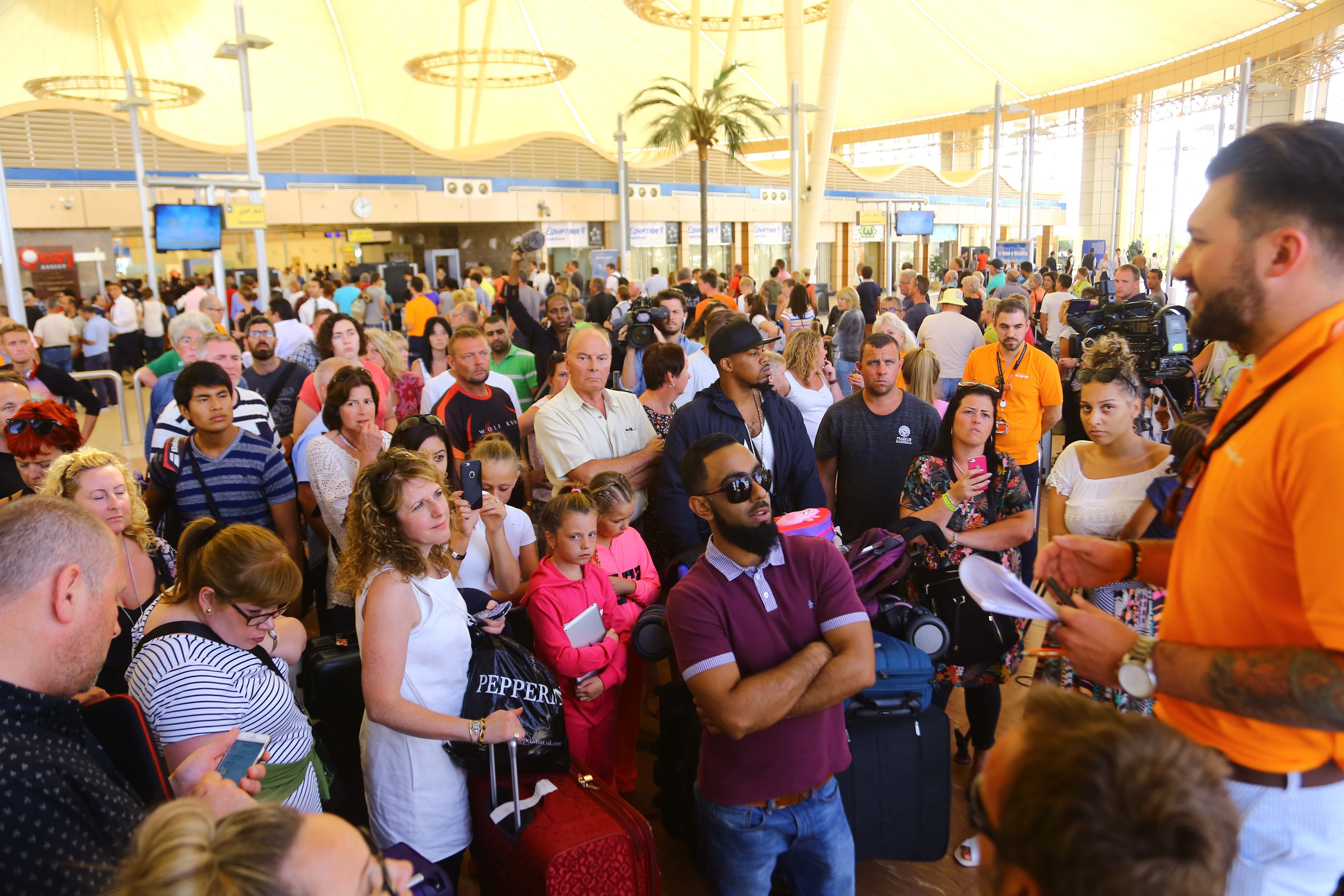 The evacuation begins of British tourists from Egypt's Sharm el-Sheikh Airport on Nov. 6, 2015. They had been stranded for security reasons since the crash of Metrojet Flight 9268 on Oct. 31