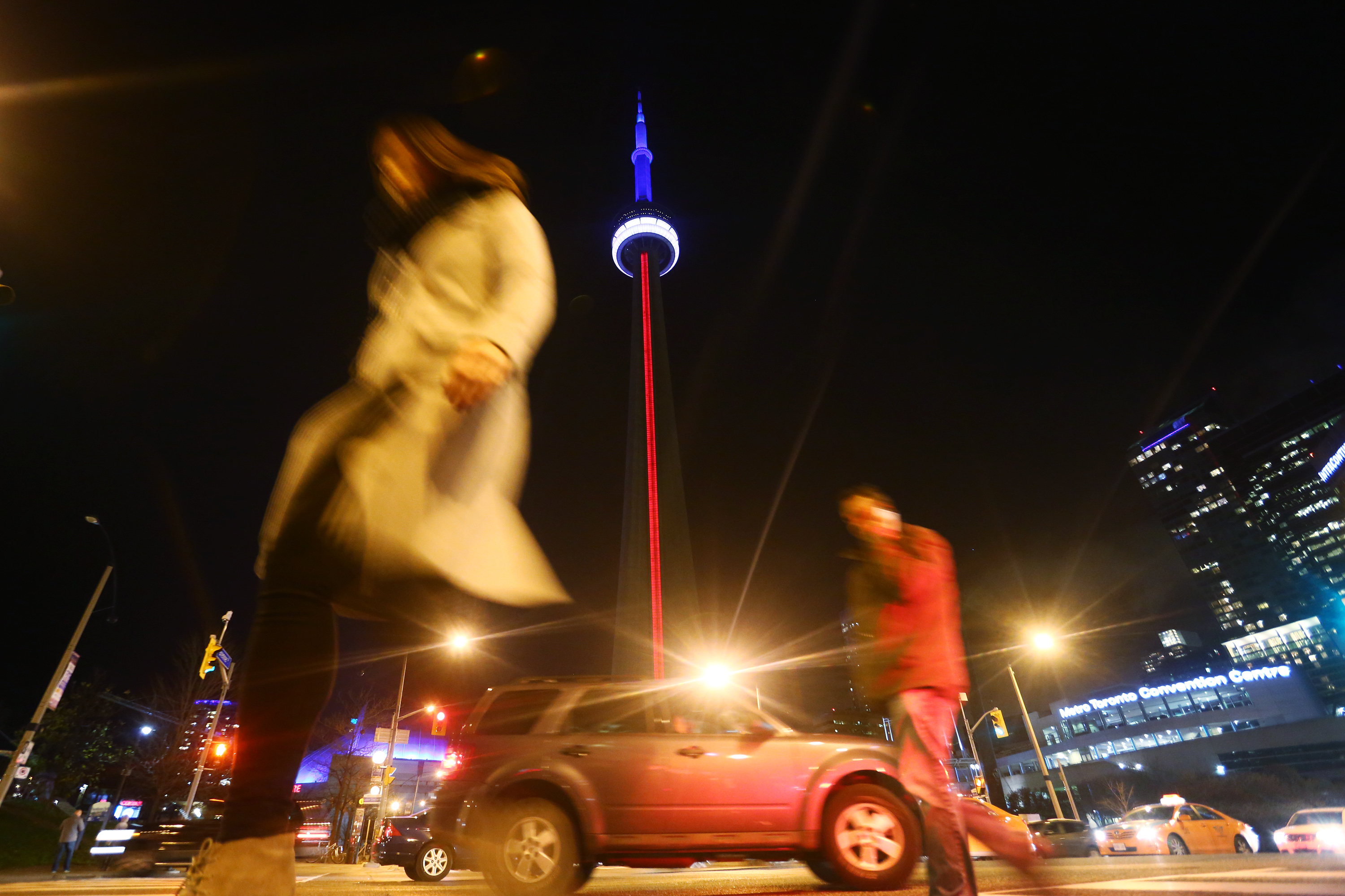 The CN Tower lit up in support of France in the face of tragedy, on Nov. 13, 2015.