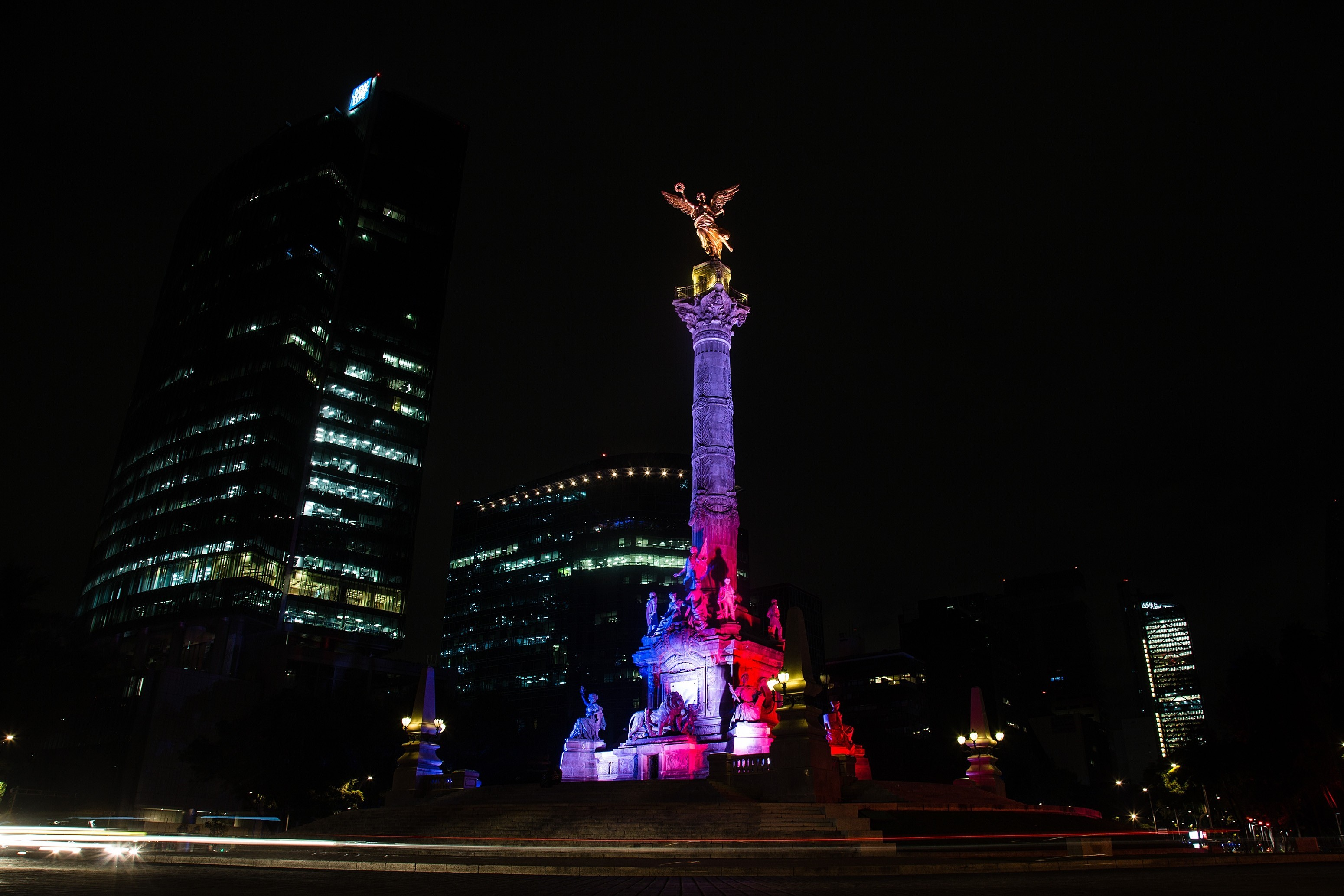 The Angel of Independence is seen with the colors of France in Mexico City on Nov. 14, 2015.