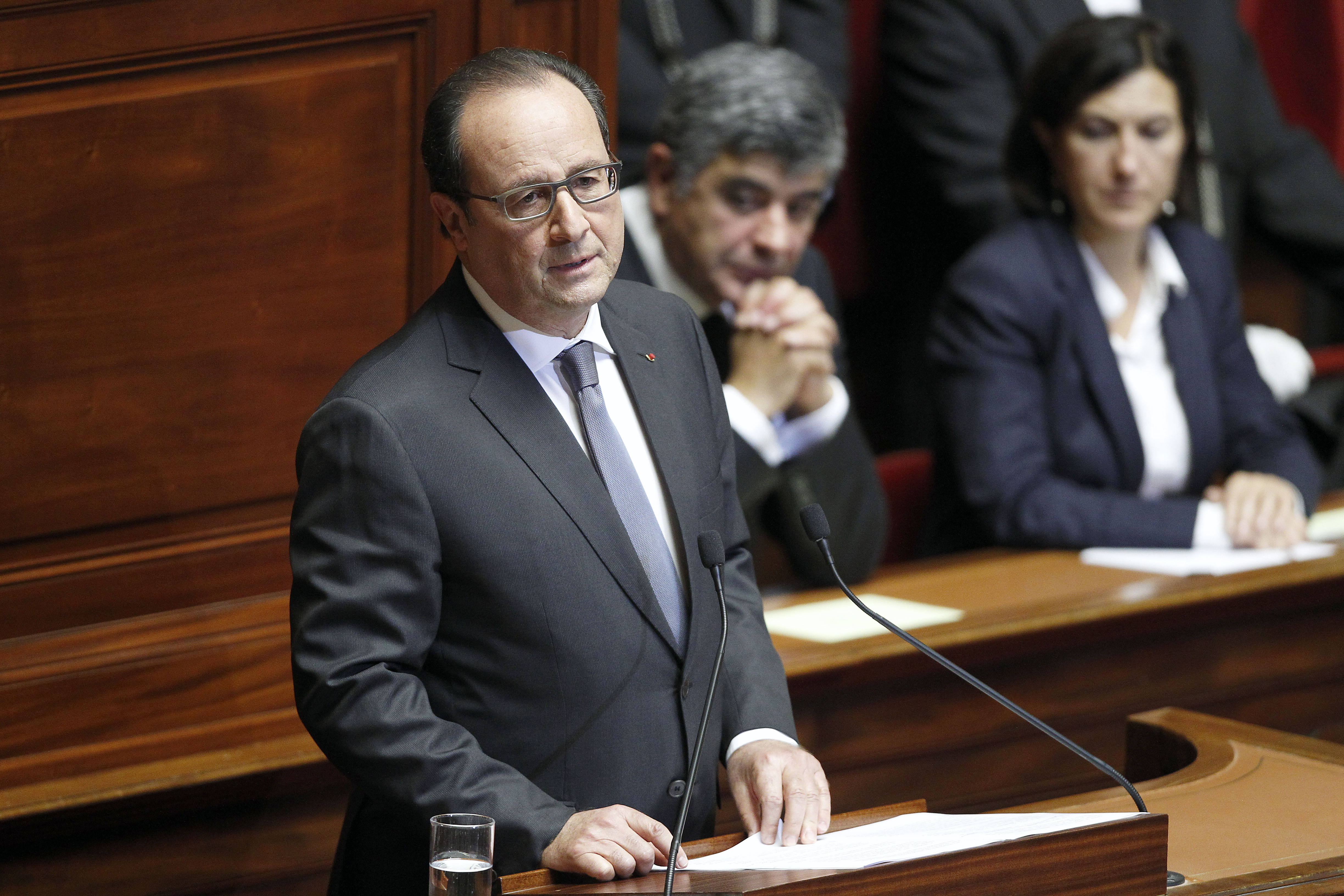 French President Francois Hollande delivers a speech during an exceptional joint gathering of both of the French houses of parliament on November 16, 2015 in Versailles, France.