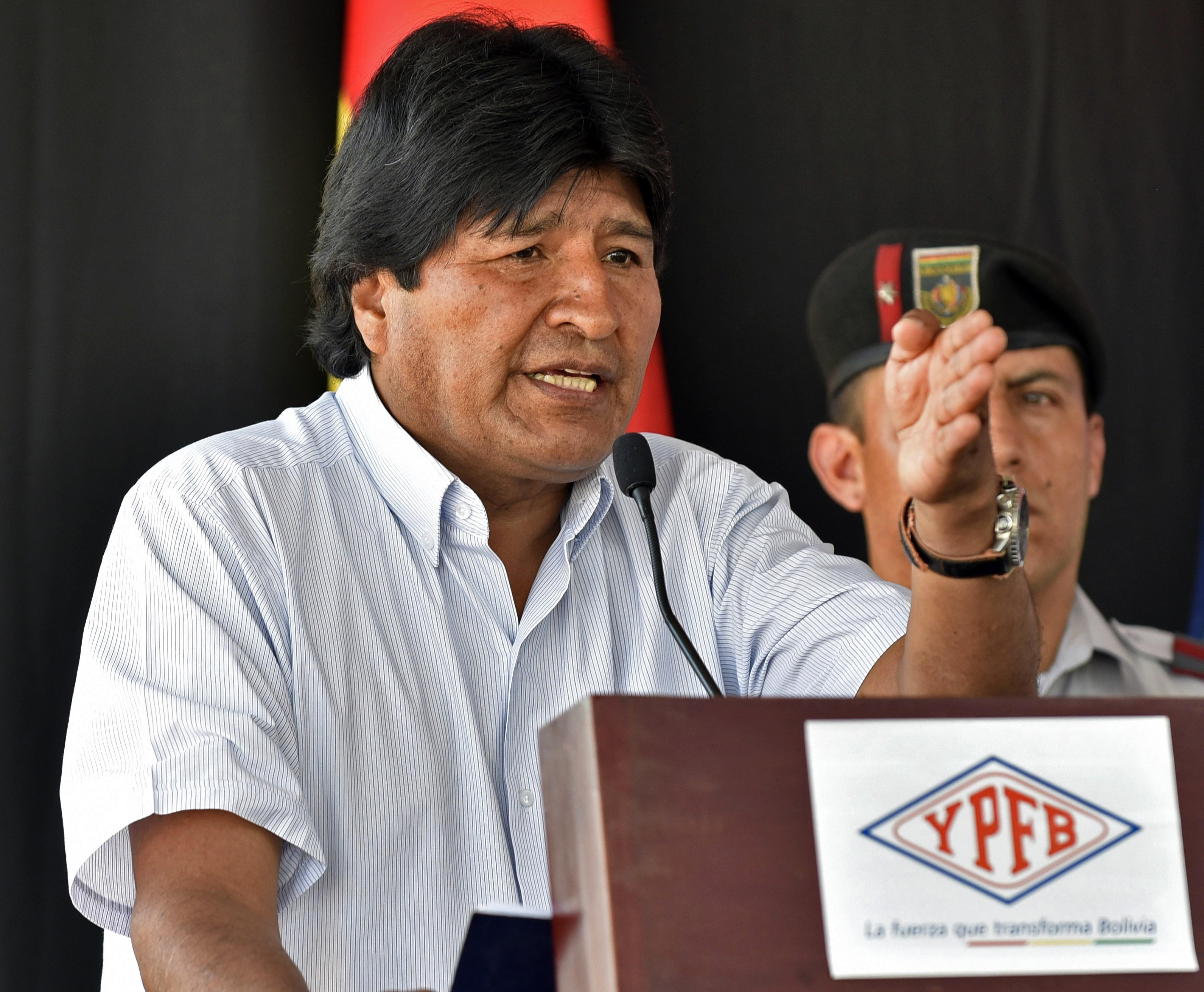 Bolivian President Evo Morales Ayma delivers a speech in Carapari, Tarija, Bolivia on Nov. 17, 2015