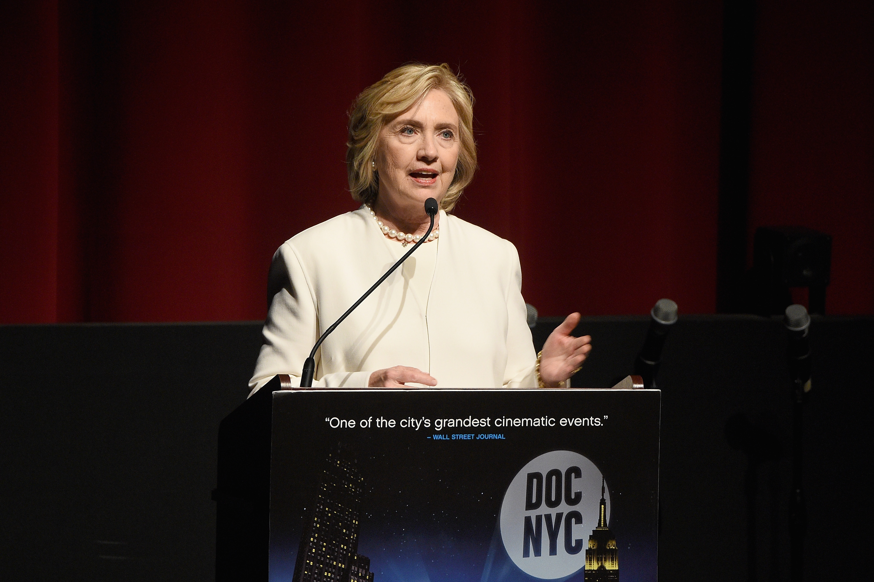 NEW YORK, NY - NOVEMBER 19:  Former United States Secretary of State Hillary Clinton speaks on stage at AOL's MAKERS: Once And For All Premiere at the DOC NYC on November 19, 2015 in New York City.  (Photo by Larry Busacca/Getty Images for AOL)