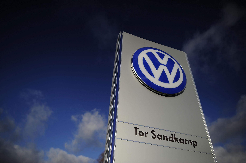 The Volkswagen logo is seen on November 20, 2015 in Wolfsburg, Germany.