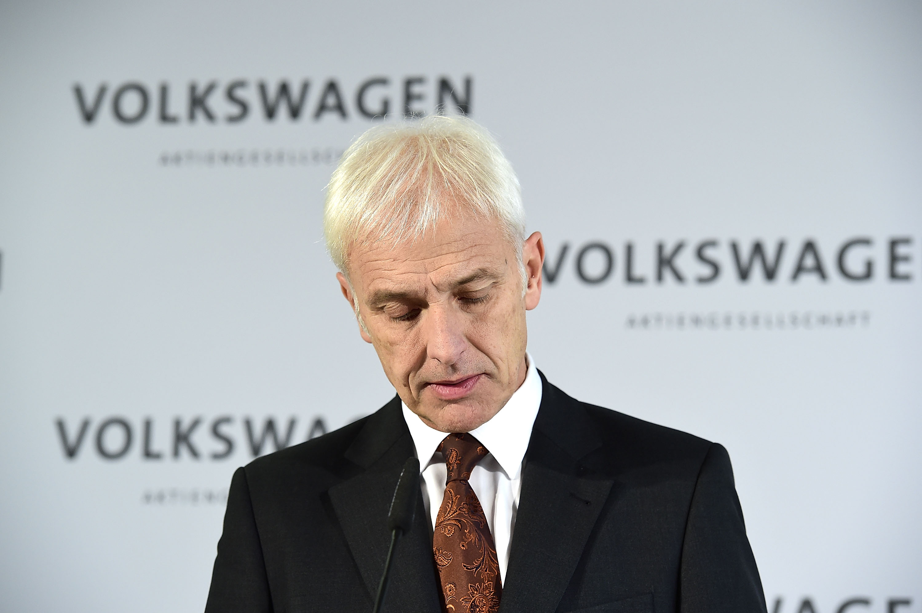 Matthias Mueller, CEO of Volkswagen Group, speaks to the media following a meeting of high-ranking Volkswagen managers on November 20, 2015 in Wolfsburg, Germany.