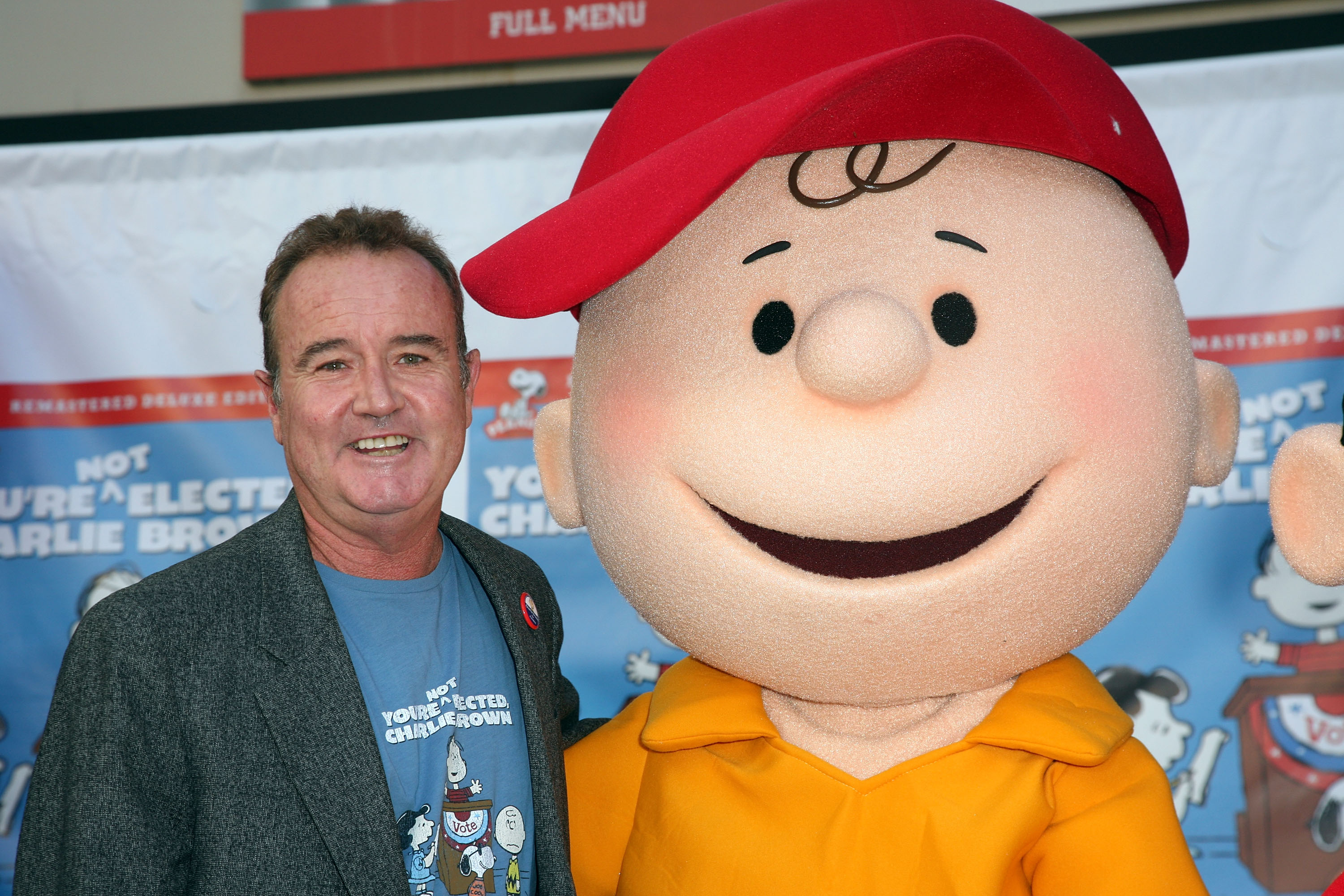 Voice actor Peter Robbins and Charlie Brown attend Warner Home Video's DVD Release of  You're Not Elected, Charlie Brown  October 7, 2008 in Hollywood, California.