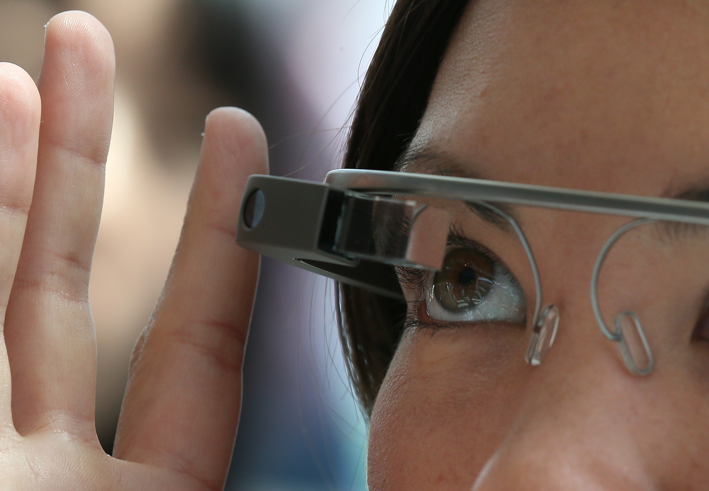 An attendee tries Google Glass during the Google I/O developer conference  in San Francisco, CA on May 17, 2013.