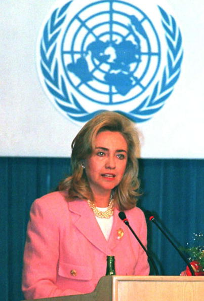 US First Lady Hillary Clinton speaks at the  Women and Health  seminar sponsored by the World Health Organization at the UN Fourth World Conference on Women September 5, 1995, in Beijing.