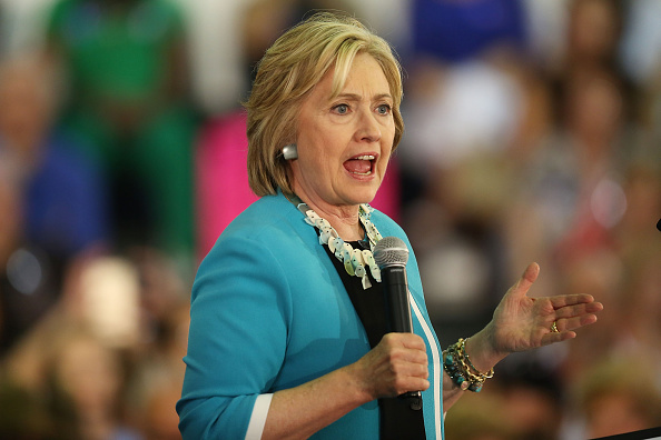 Democratic presidential candidate Hillary Clinton speaks about gun control during her campaign stop at the Broward College Hugh Adams Central Campus on October 2, 2015 in Davie, Florida.