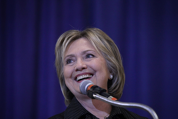 Democratic presidential candidate Hillary Clinton speaks during the Central Iowa DemocratsÕ fall barbecue November 15, 2015 at Hansen Agriculture Student Learning Center of Iowa State University in Ames, Iowa.
