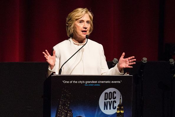 Democratic presidential hopeful Hillary Clinton speaks at the premier of the documentary film  Makers: Once and For All  at the School of Visual Arts on November 19, 2015 in New York City.