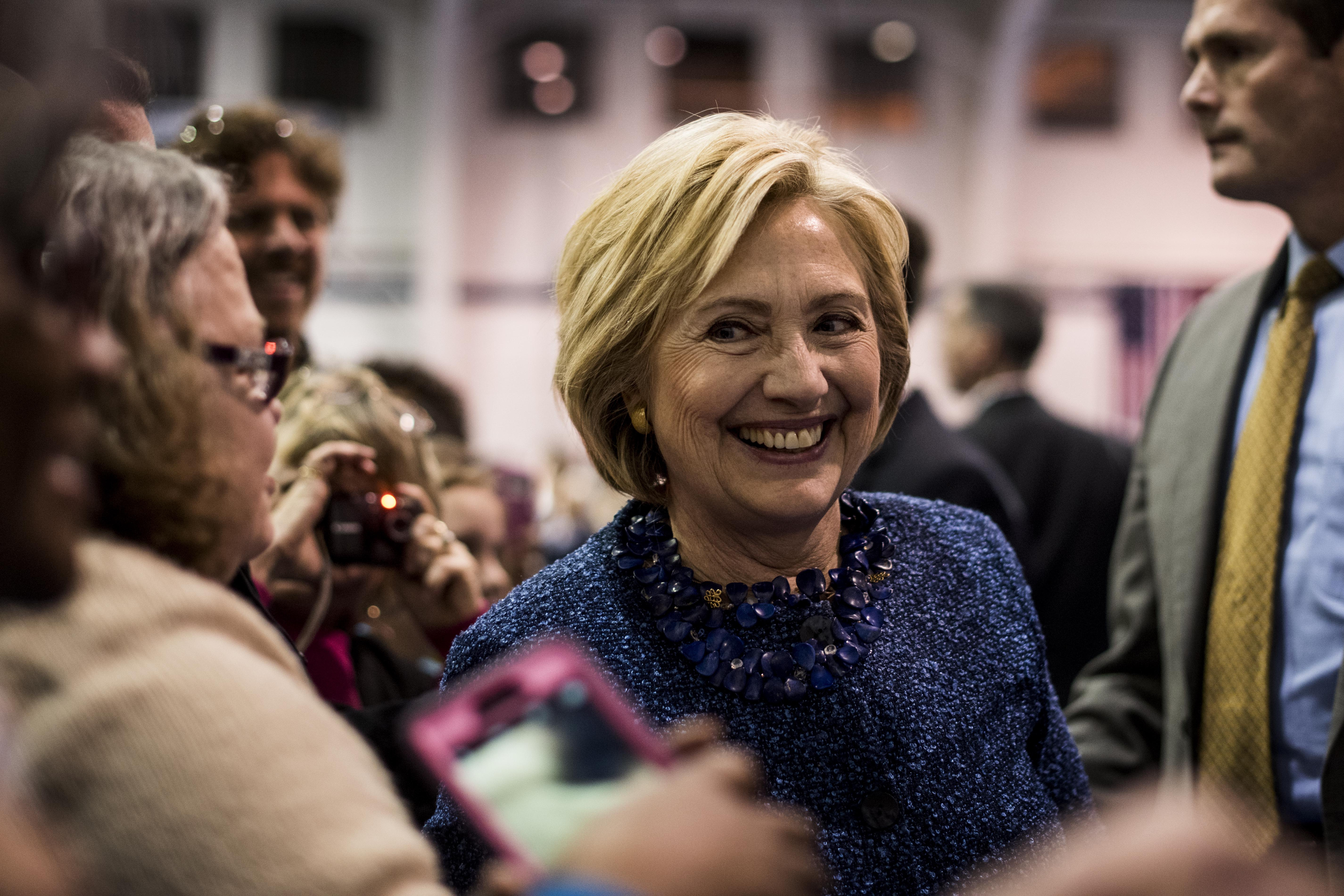 Former Secretary of State Hillary Clinton speaks to and meets voters at Henderson A. Johnson Gymnasium during a rally in Nashville, Tennessee on Friday November 20, 2015.