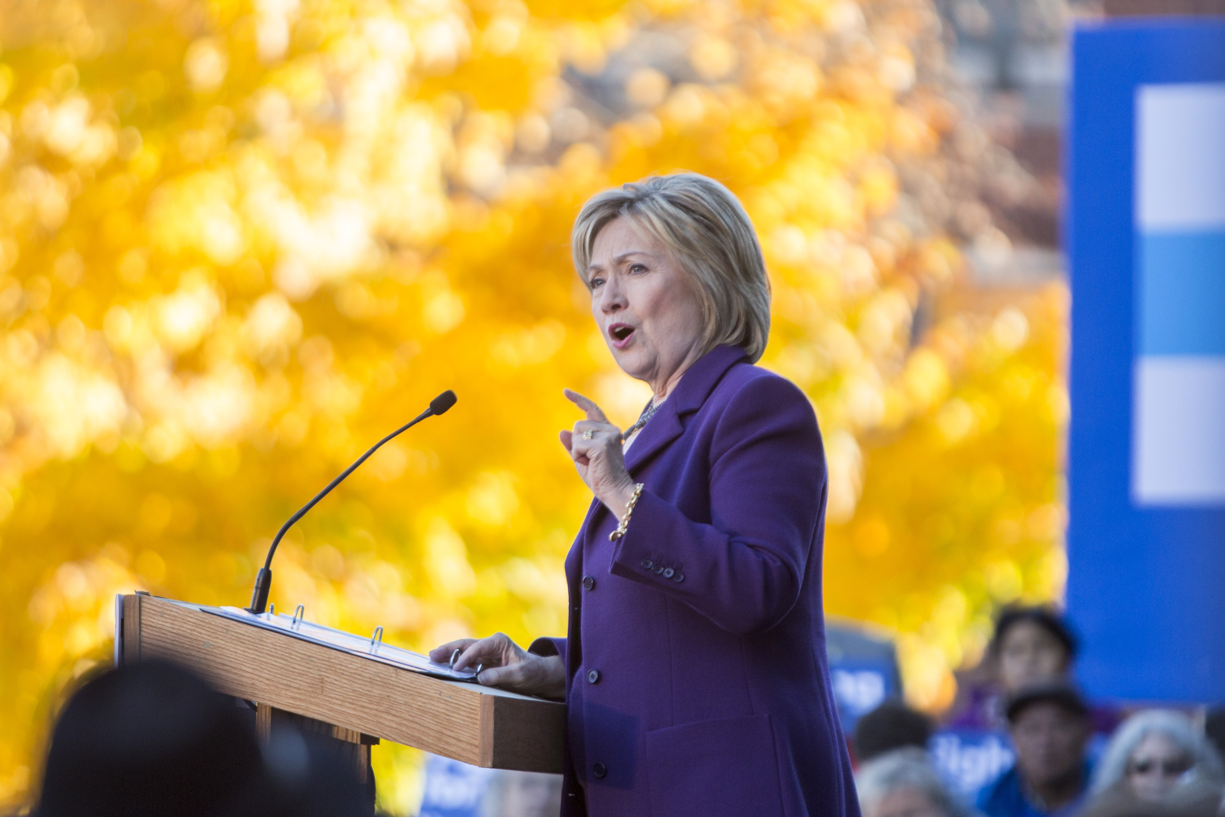 Hillary Clinton speaks on stage during a rally after filing paperwork for the New Hampshire primary in Concord, NH on Nov. 9, 2015.