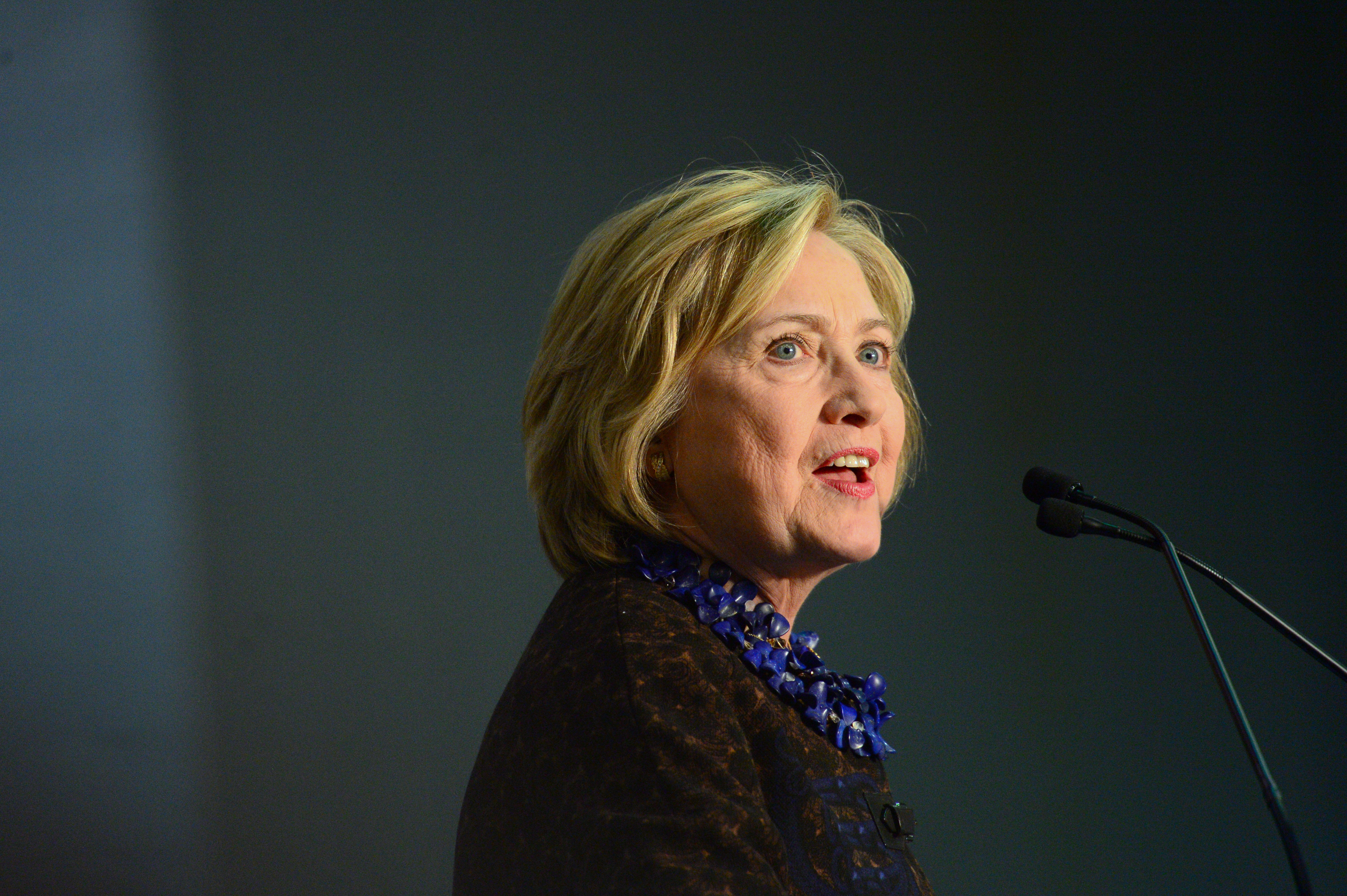 Democratic Presidential candidate Hillary Clinton Speaks to Supporters during the  African Americans for Hillary Grassroots Organizing Meeting with Hillary Clinton  event at Clark Atlanta University Gymnasium on October 30, 2015 in Atlanta, Georgia.