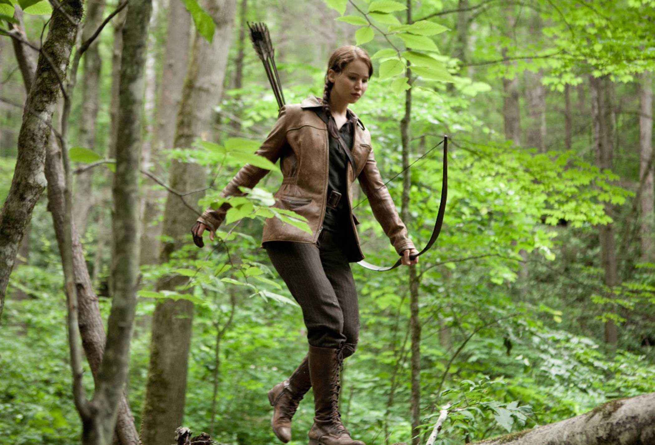 Jennifer Lawrence as Katniss Everdine in The Hunger Games, 2012.