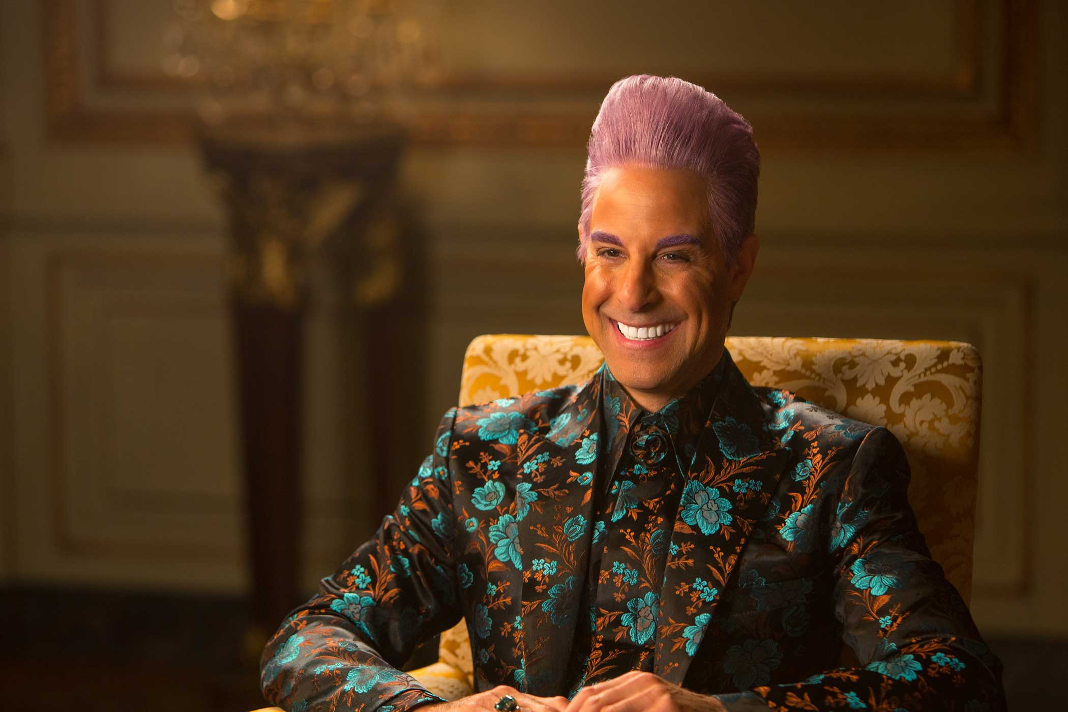 Stanley Tucci as Caesar Flickerman in The Hunger Games: Mockingjay – Part 1, 2014.