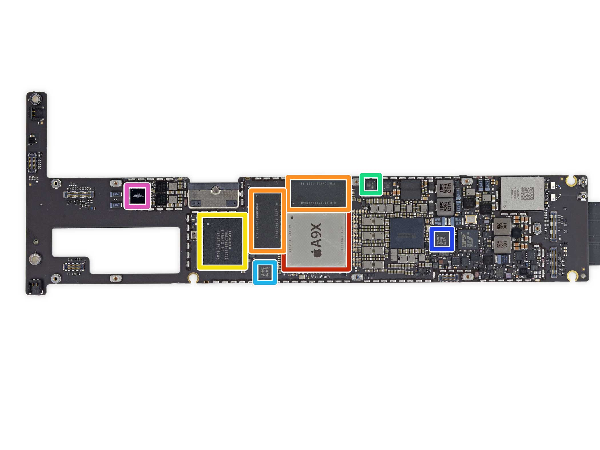This is the logic board, which houses the iPad Pro's A9X chip, memory, flash storage, gyroscope, and other crucial components.