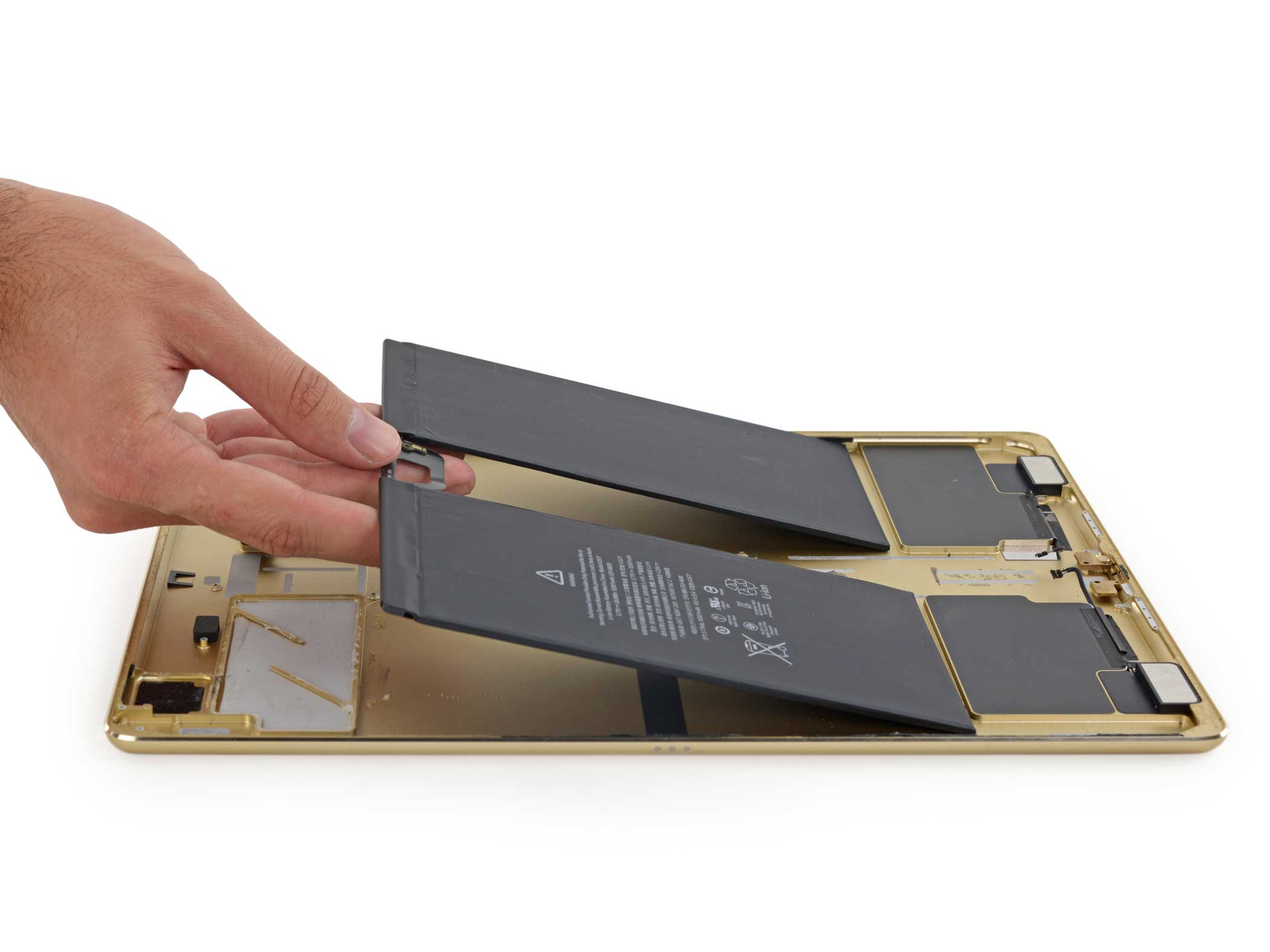 Here's a look at the iPad Pro's battery, which is 10,307 mAh according to iFixit.