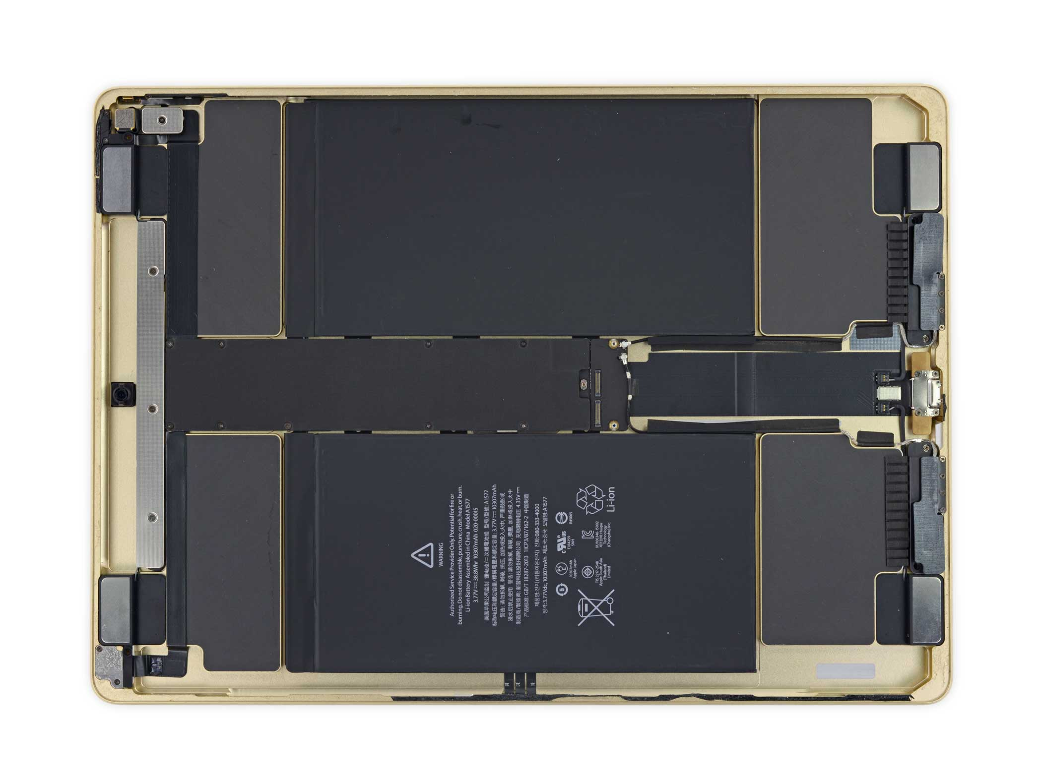 The speaker enclosures in the iPad Pro take up a significant amount of space inside the body.