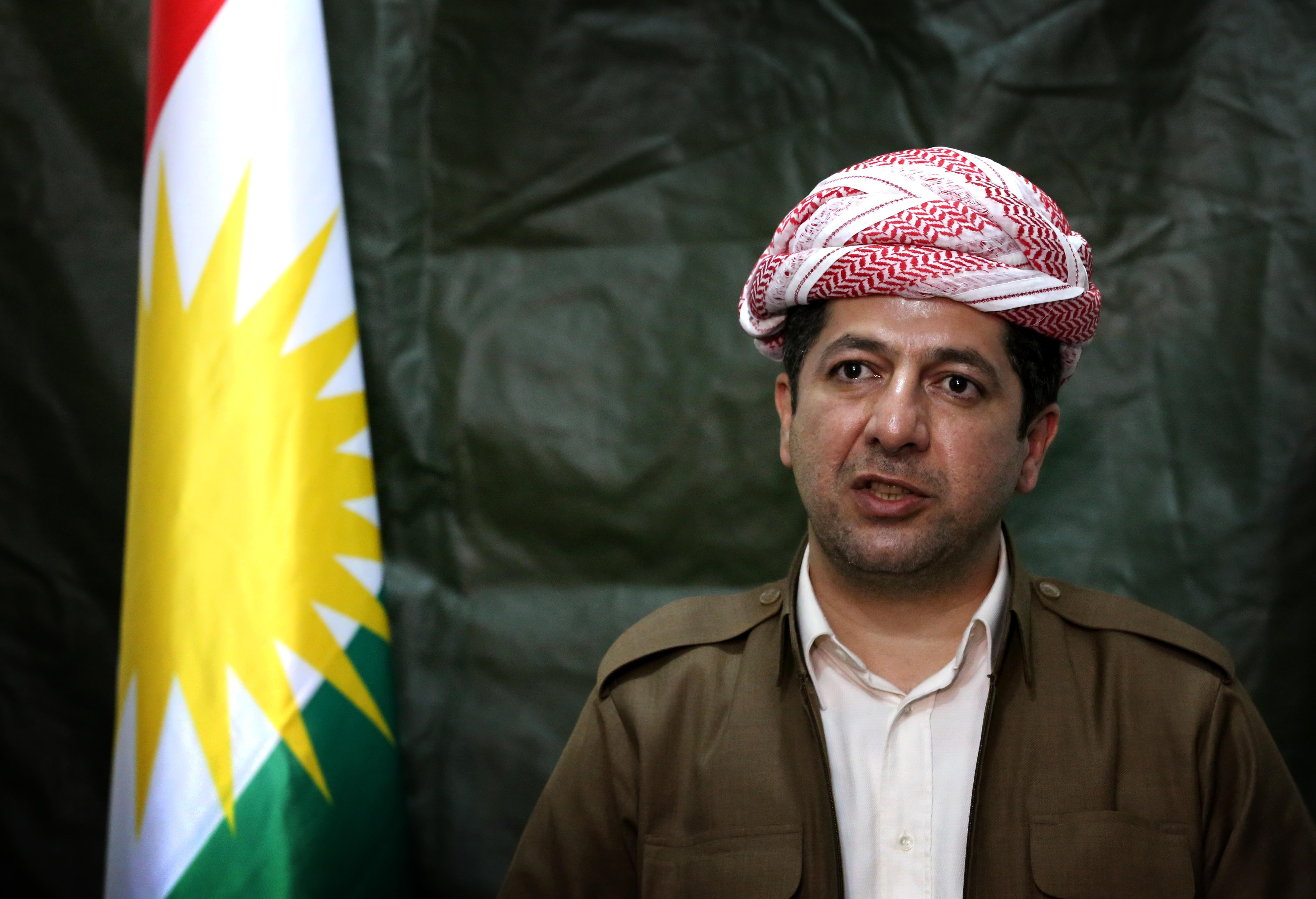 Masrour Barzani, chancellor of the Kurdistan Regional Security Council, speaks during a press conference in the northern Iraqi city of Dohuk December 18, 2014.
