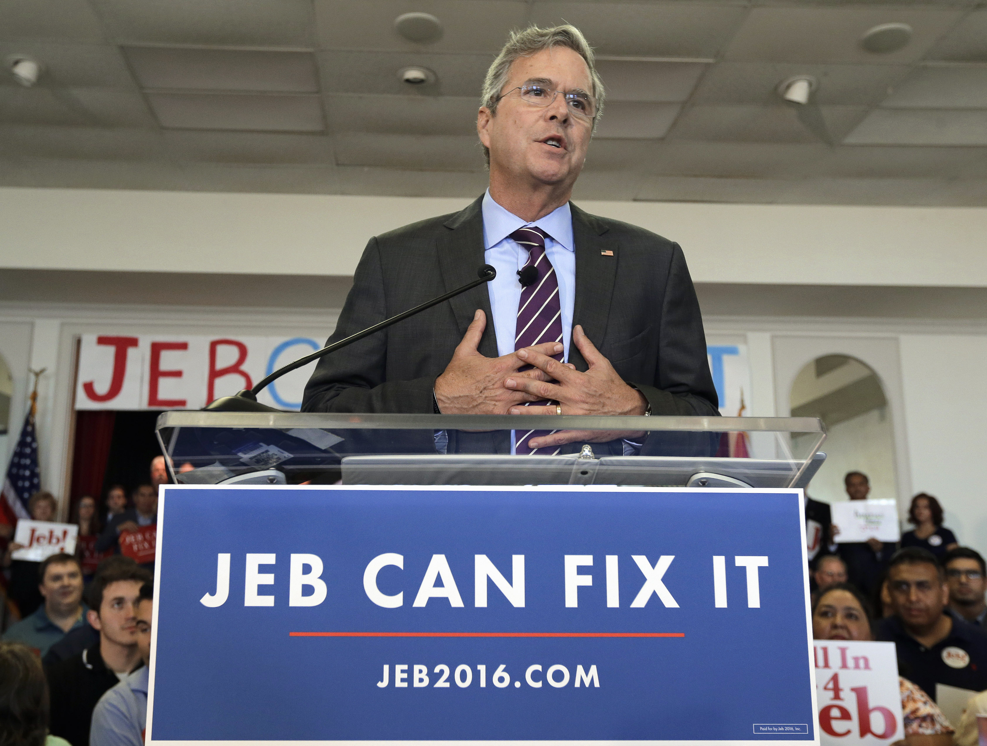 Republican presidential candidate Jeb Bush speaks to supporters during a rally Nov. 2, 2015, in Tampa, Fla.