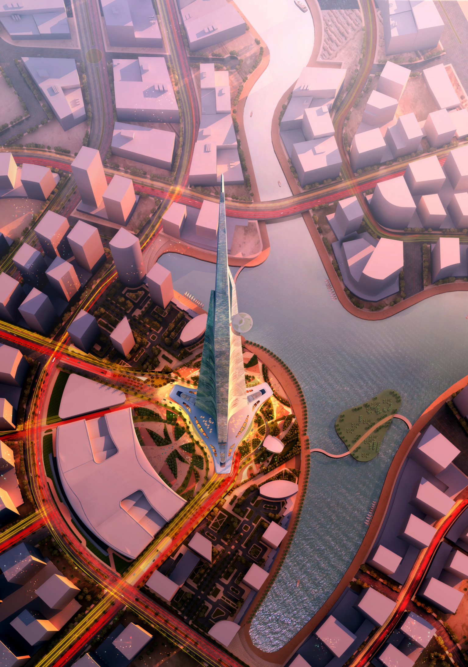 This image shows the planned  Kingdom Tower  in Jeddah, Saudi Arabia, from the air. The tower will be more than 1,000 meters high.