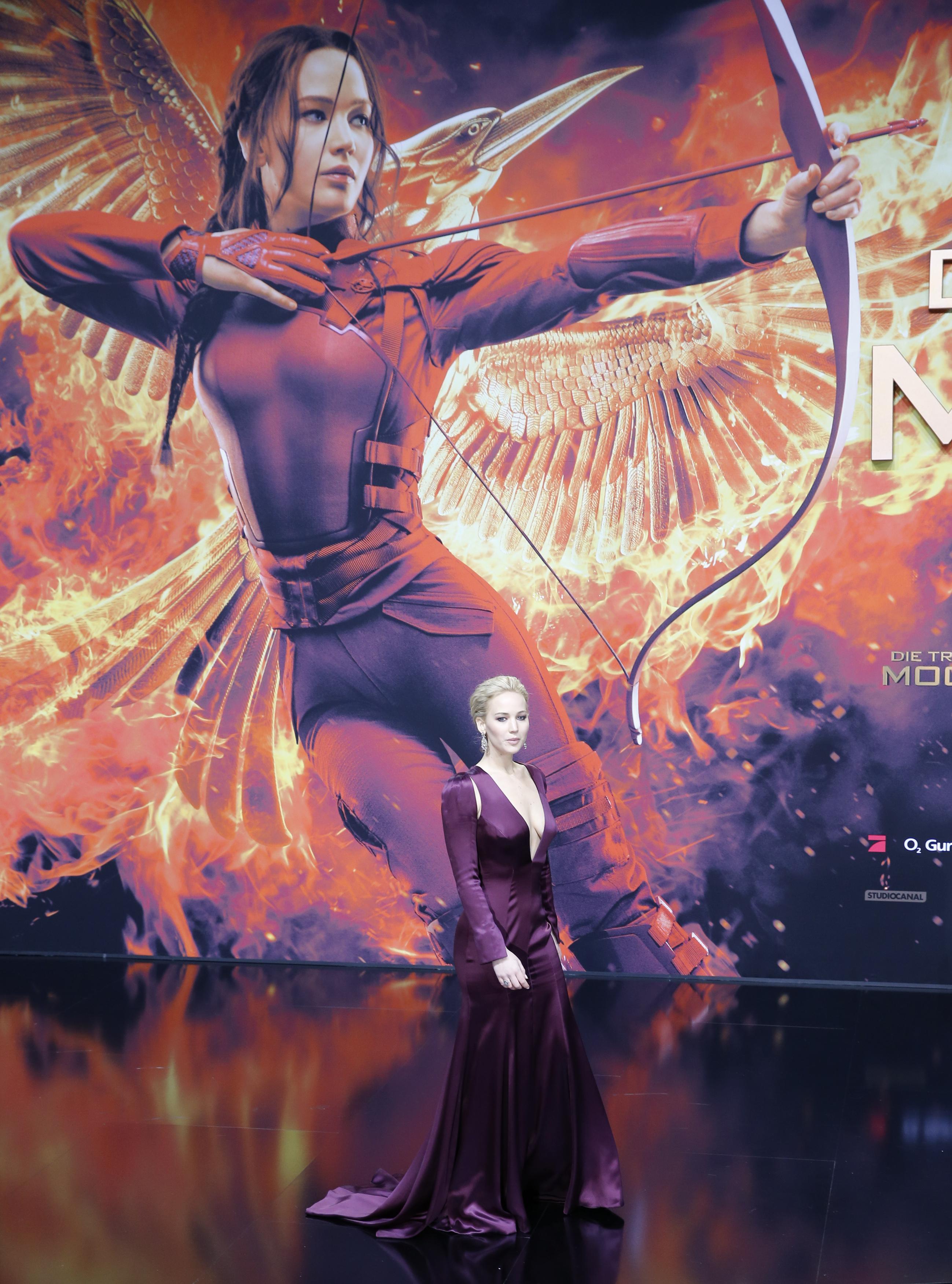 Cast member Jennifer Lawrence poses as she arrives for the world premiere of  The Hunger Games: Mockingjay - Part 2  in Berlin on Nov. 4, 2015.