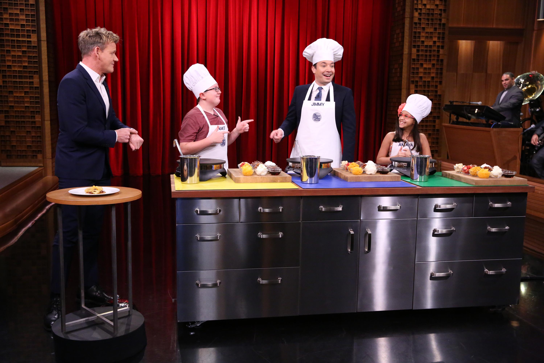 Gordon Ramsay, Kid Chef Nate, Jimmy Fallon, and Kid Chef Amaya during the Masterchef Junior Cook-Off on Nov. 20, 2015.