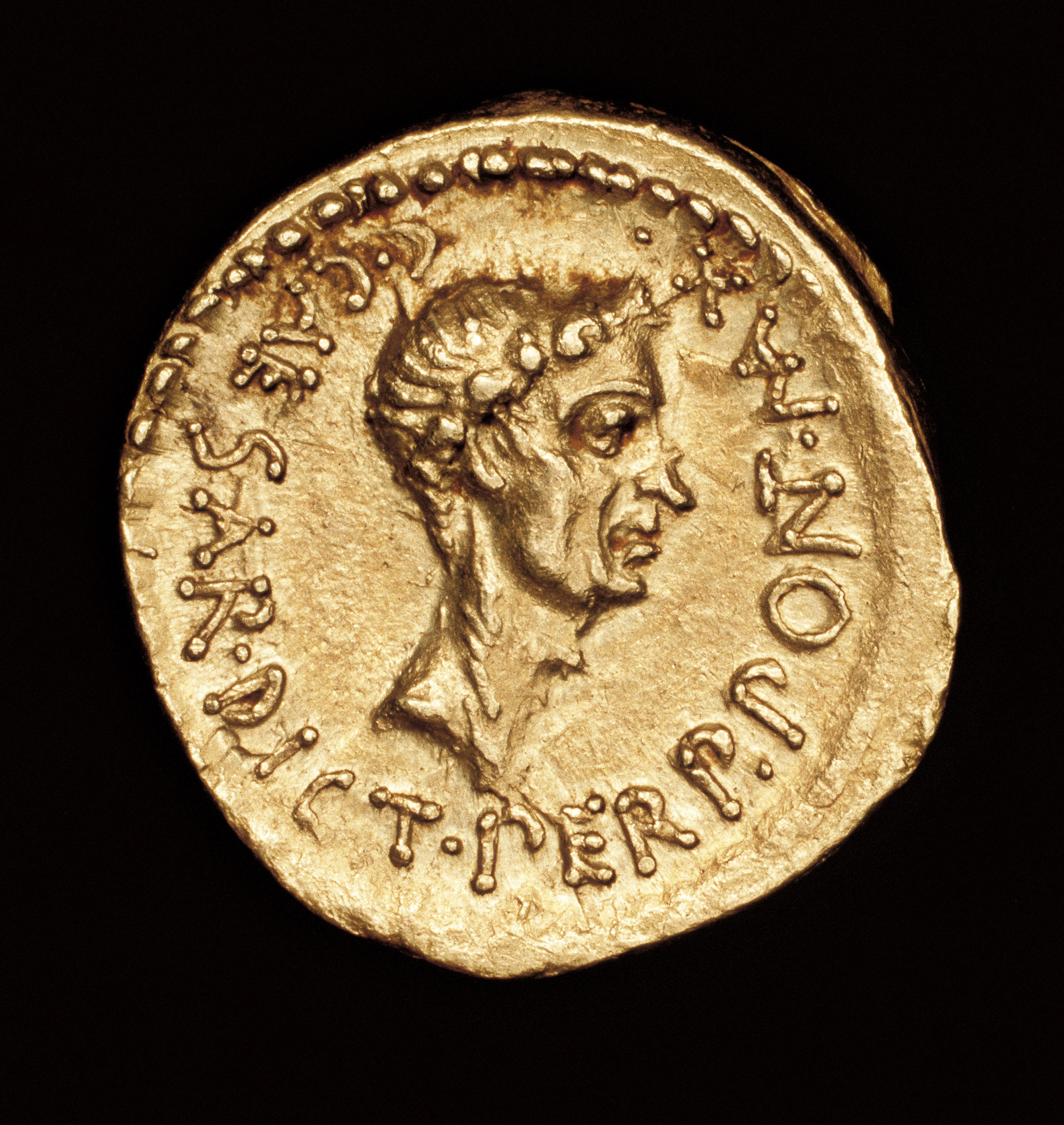 Rare Ancient Roman Coin, Roman Gold Aereus, Julius Caesar, c 43 BC, minted in Cisalpine Gaul.