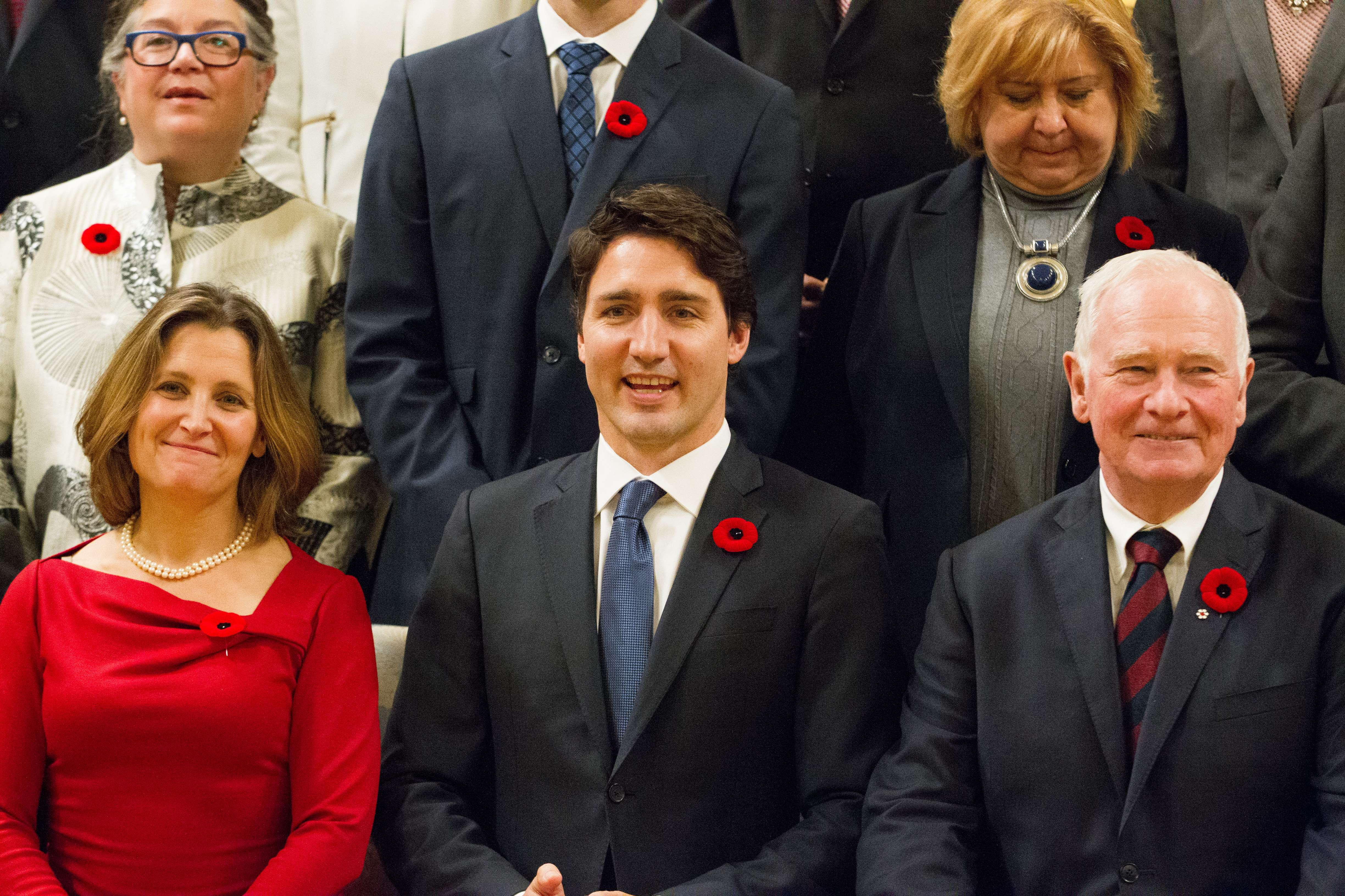 Prime Minister Justin Trudeau pose for a photo with Trudeau's cabinet after being sworn in at Rideau Hall in Ottawa, Ontario,, November 4, 2015.      ( GEOFF ROBINS--AFP/Getty Images)