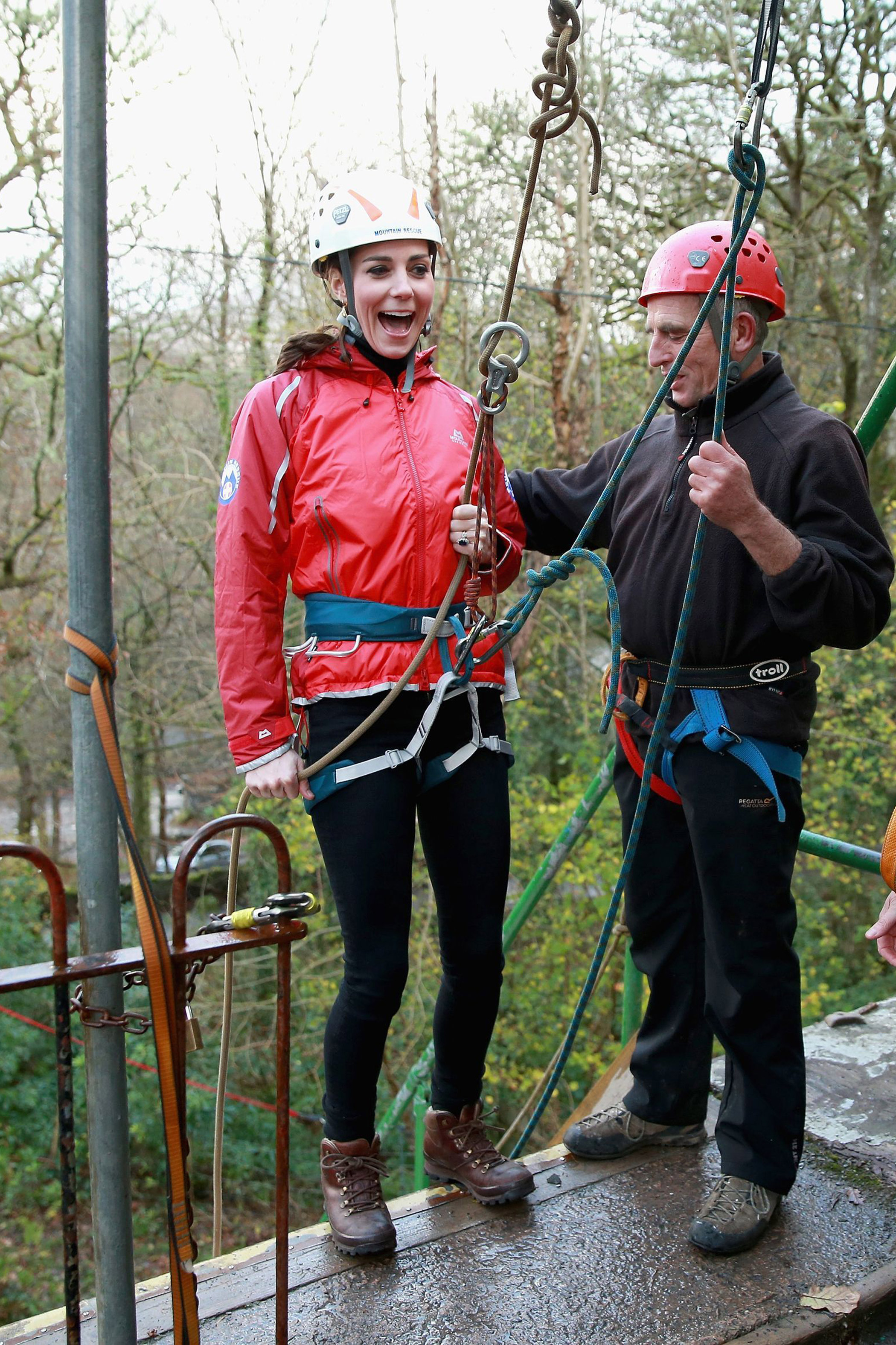 Princess Kate, Duchess of Cambridge, prepares to abseiling down a wall during a visit to the Towers Residential Outdoor Education Centre on Nov. 20.