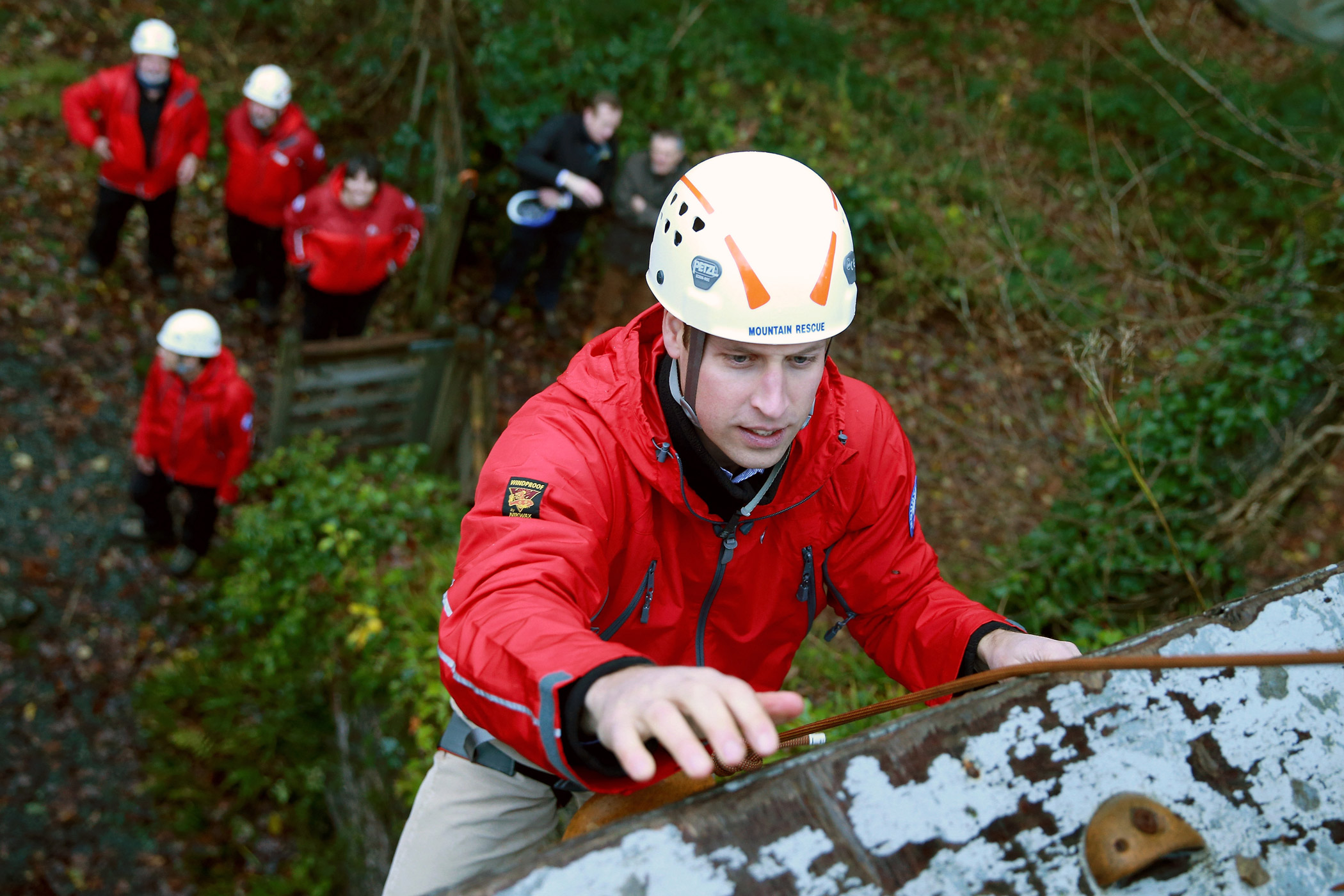 The Duke climbs up a wall at Towers Residential Outdoor Education Centre on Nov. 20, 2015.