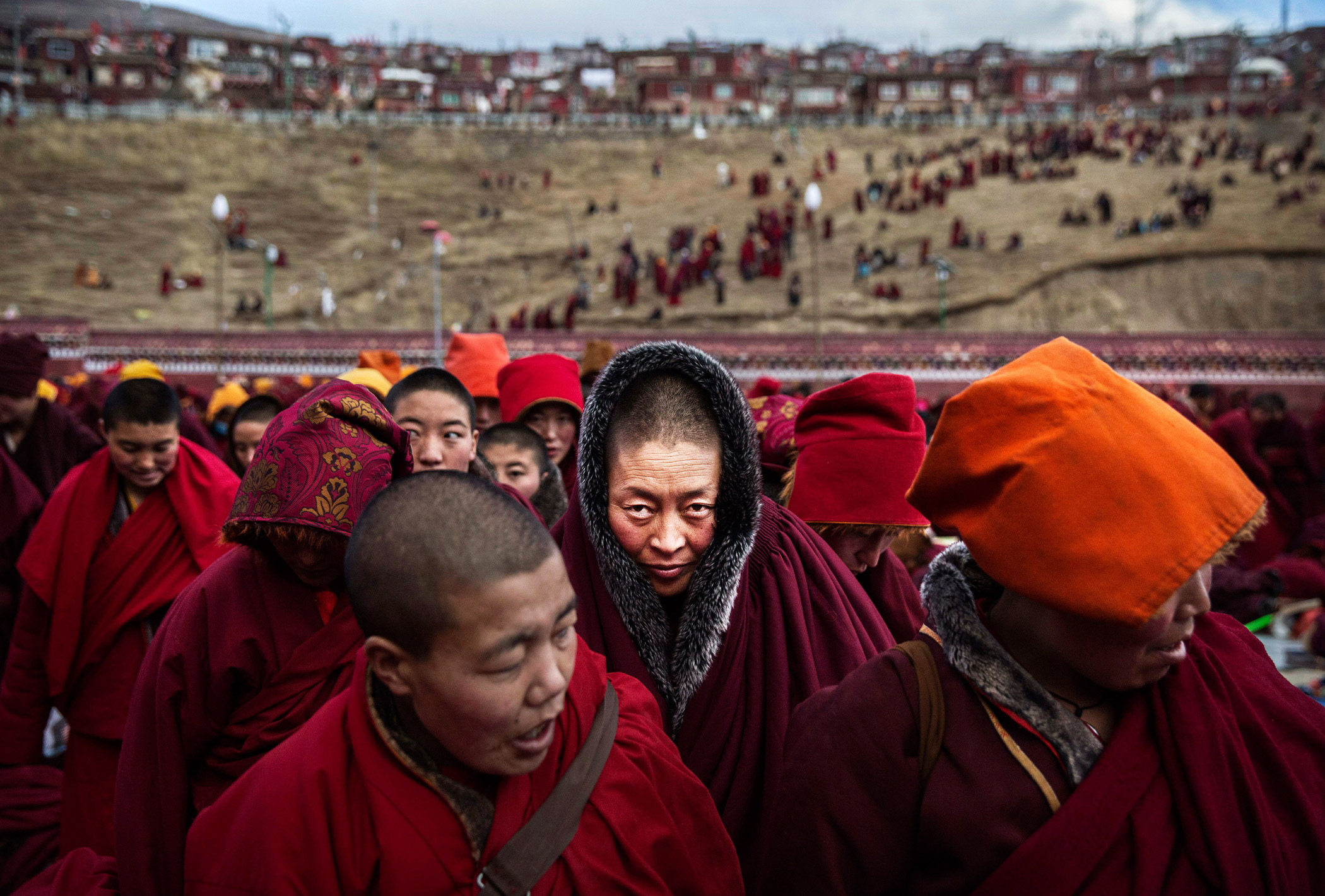 Tibetan Buddhist nuns participate in the annual Bliss Dharma Assembly at the Larung Wuming Buddhist Institute on Oct. 30, 2015 in Sertar county, in the remote Garze Tibetan Autonomous Prefecture, Sichuan province, China. The last of four annual assemblies, the week-long annual gathering takes place in the ninth month of the Tibetan calendar and marks Buddha's descent from the heavens.