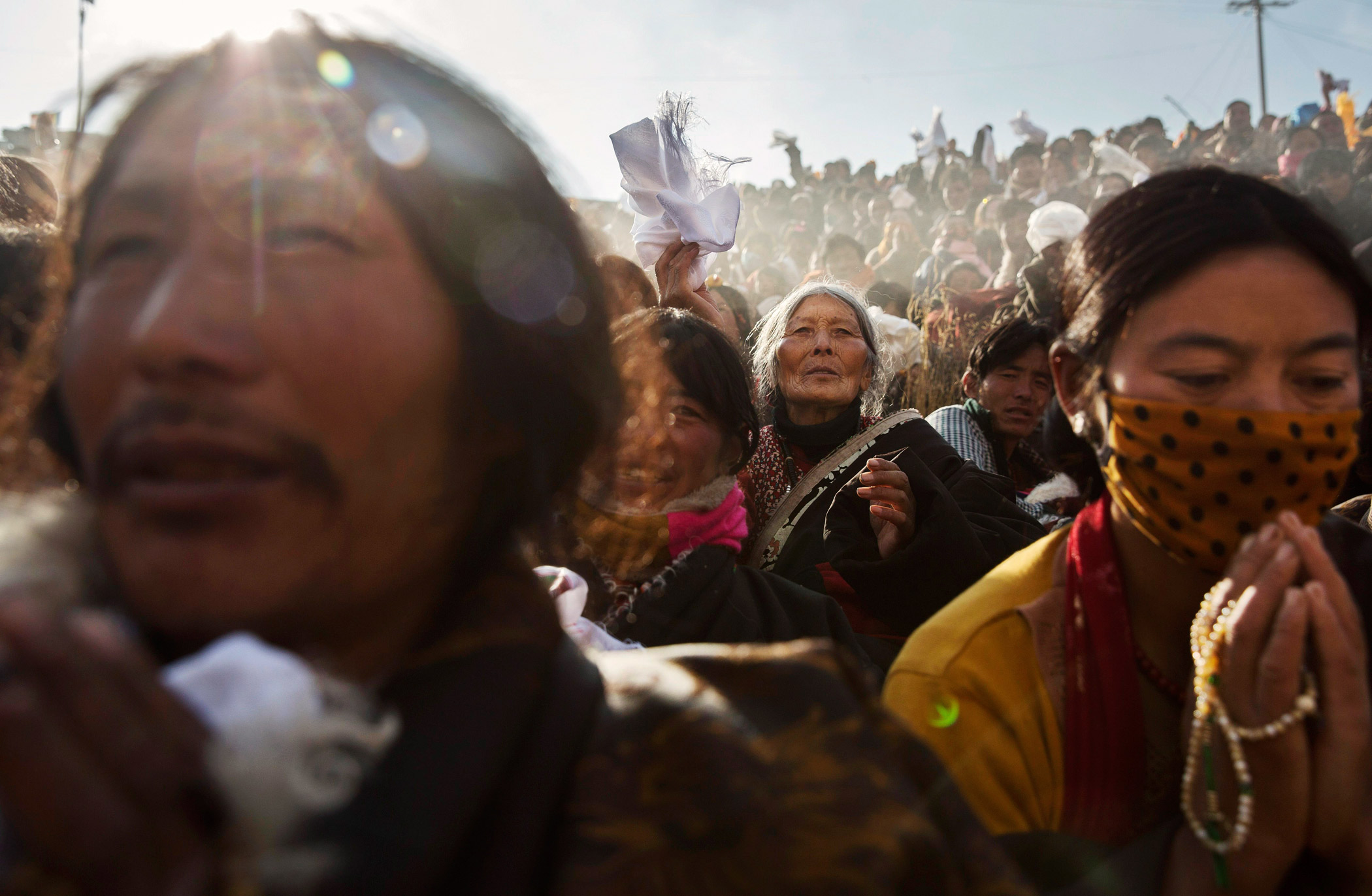 Tibetan Buddhist nomads pray during a morning chanting session on Oct. 30.