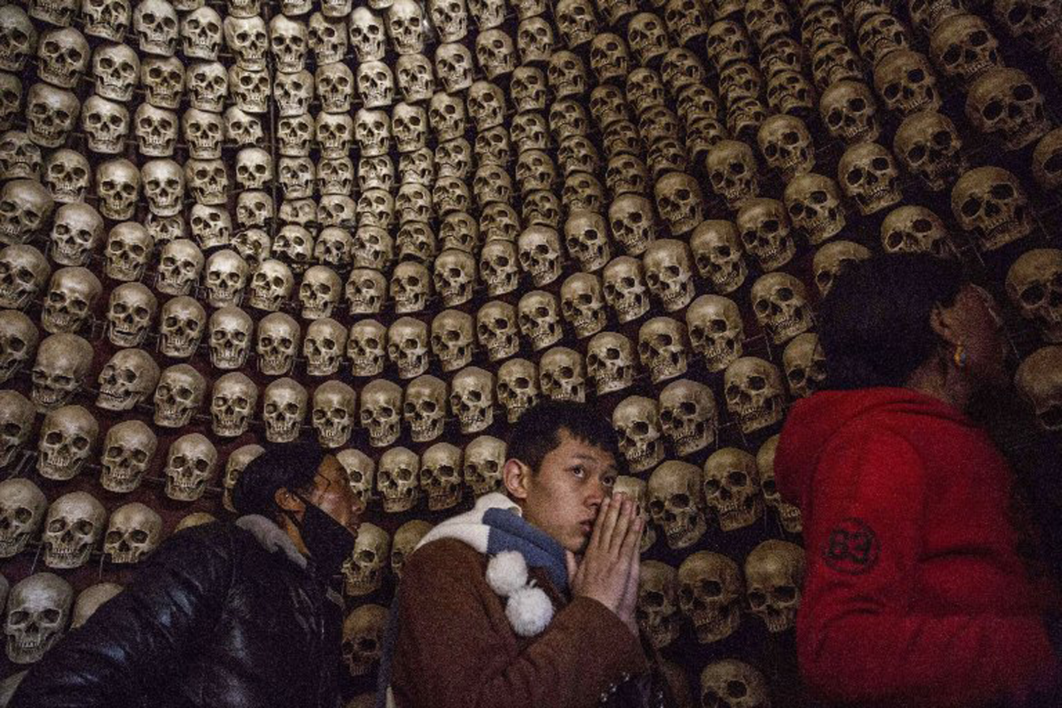 A shrine is made of fake skulls at the sky burial site near the Larung Wuming Buddhist Institute.