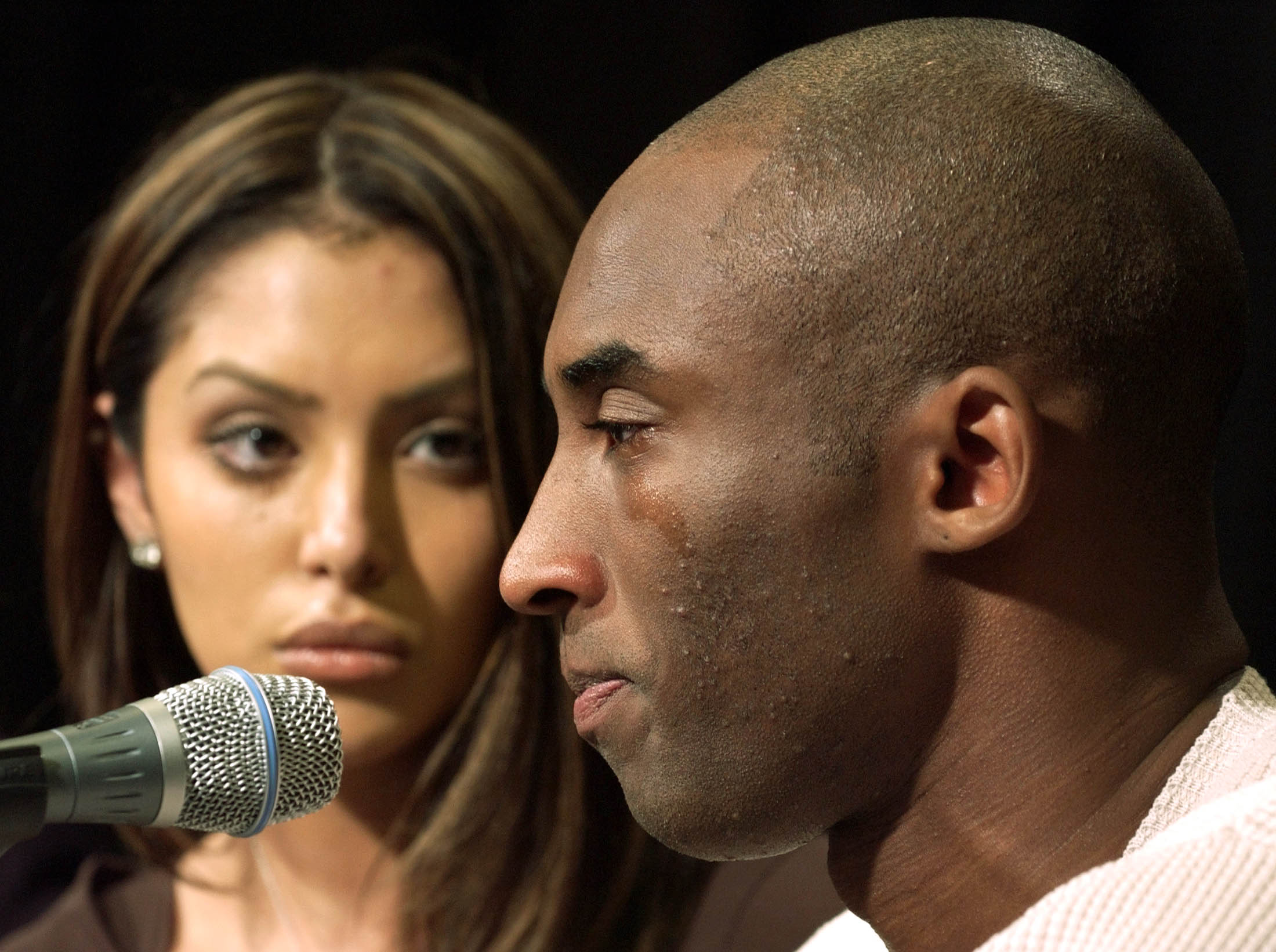 Bryant cries as he admits to                               adultery in front of his wife Vanessa at a press conference in Los Angeles on July                               18, 2003. The Laker guard's off-court troubles that season, which included an arrest for sexual assault, somewhat tarnished his growing reputation.