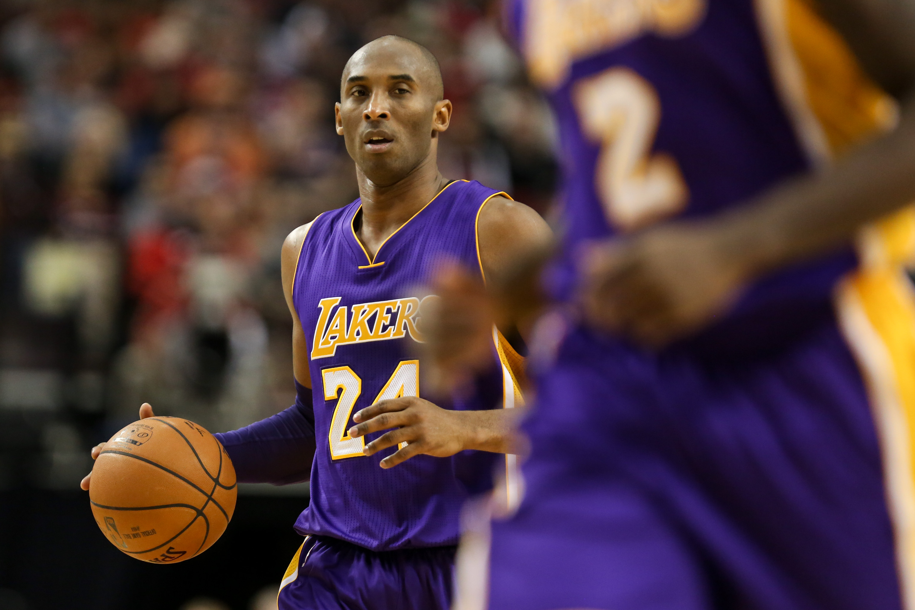 Kobe Bryant during a game between the Portland Trailblazers and the Los Angeles Lakers at the Moda Center on Nov. 28, 2015 — his last game before announcing that he would retire at the end of the season.