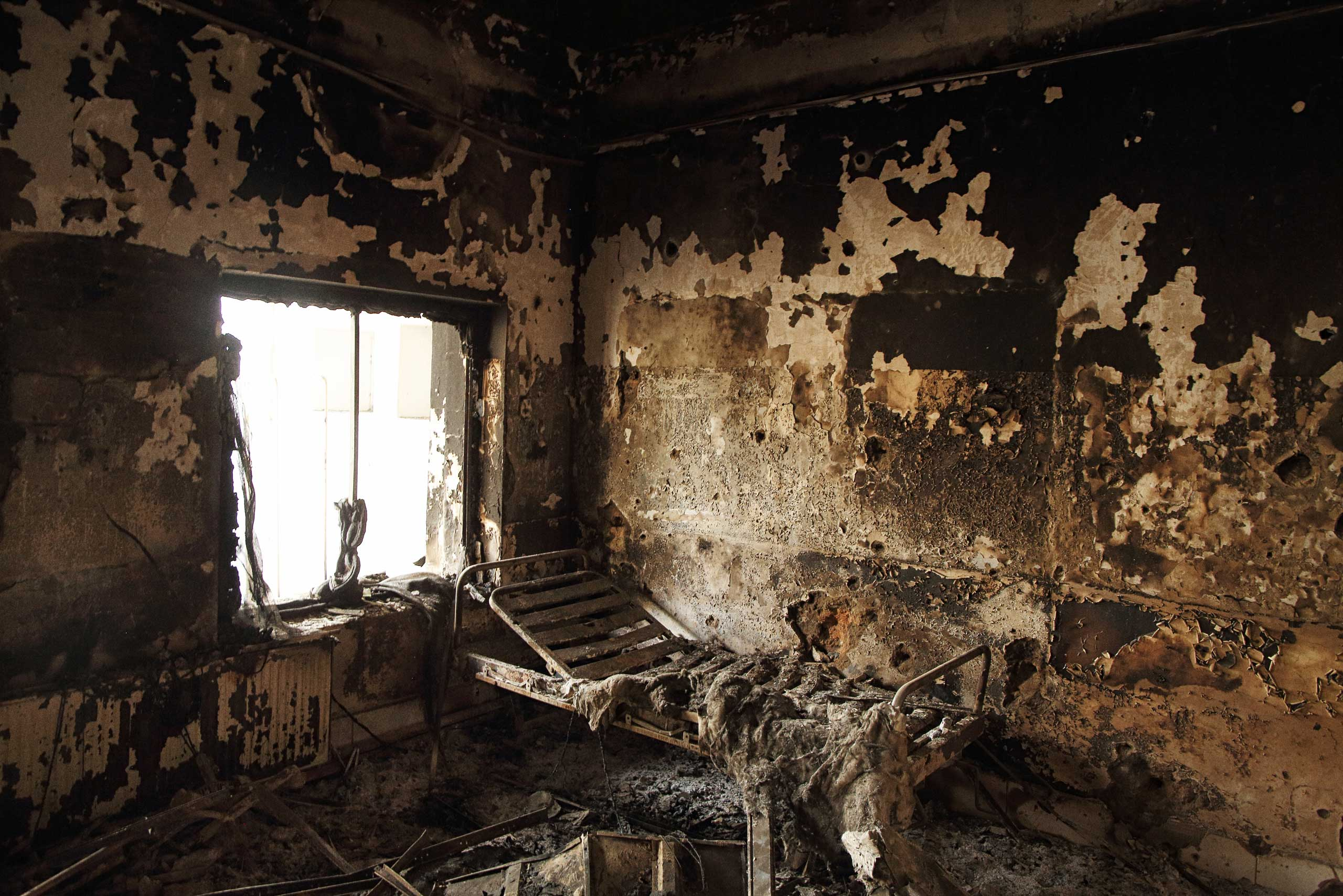 Foreign Policy: Inside the MSF Hospital in KunduzThe remains of a bed frame in a room on eastern wing of the main Outpatient Department building.