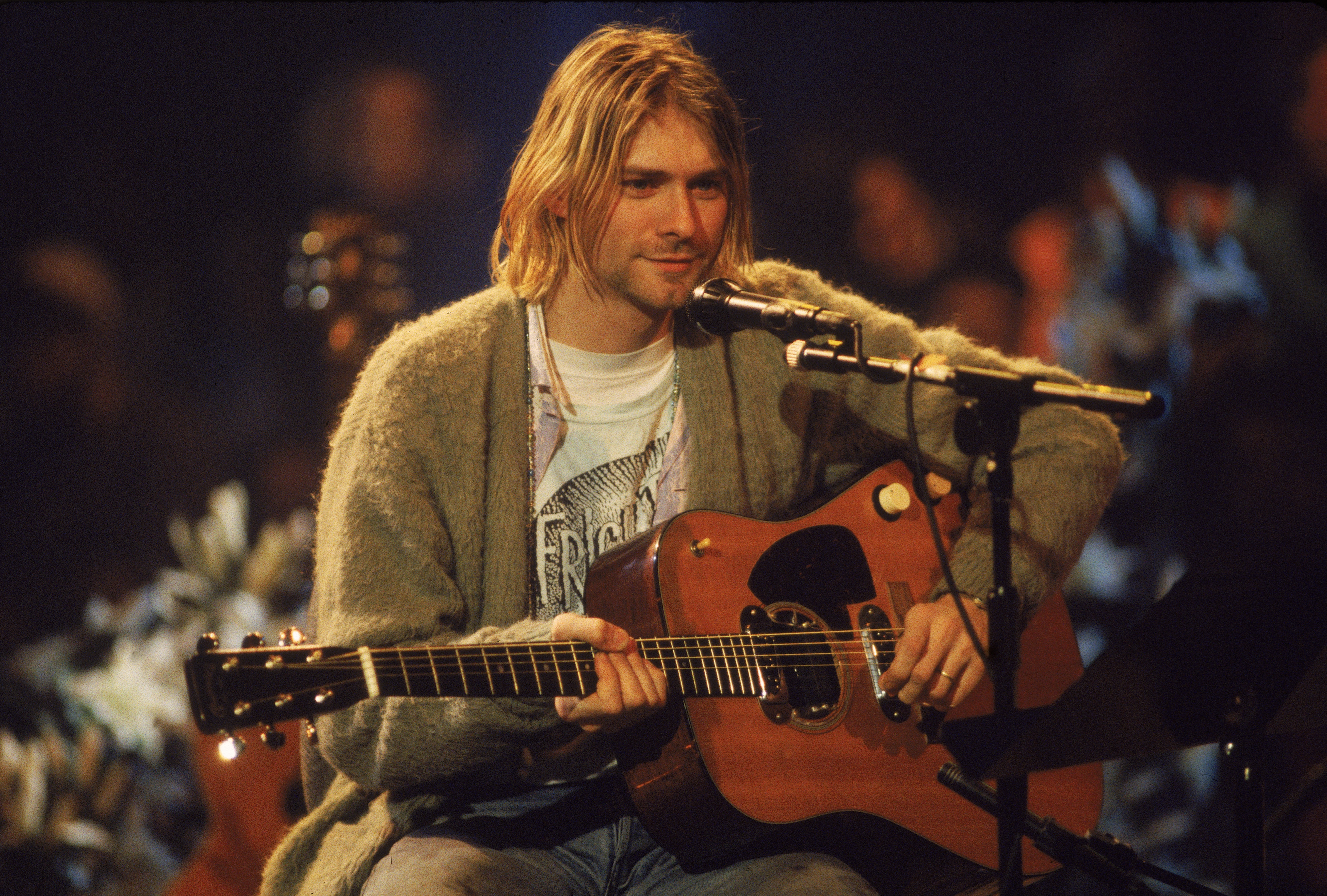 Kurt Cobain performs with Nirvana during a taping of MTV Unplugged on Nov. 18, 1993 in New York City.