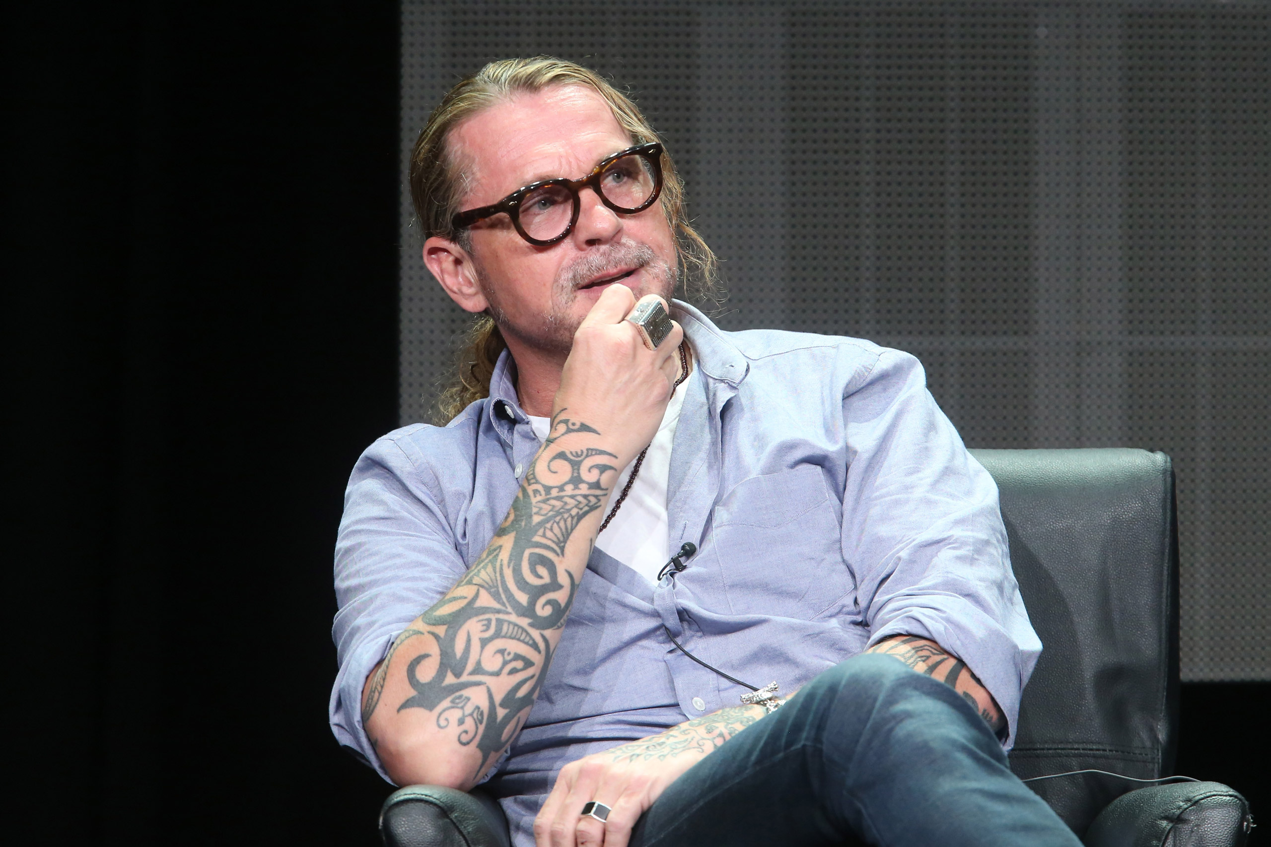 Kurt Sutter speaks onstage during 'The Bastard Executioner' panel discussion at the FX portion of the 2015 Summer TCA Tour in Beverly Hills on August 7, 2015.