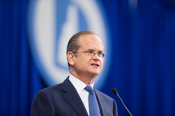 Democratic presidential candidate Lawrence Lessig speaks on stage at the New Hampshire Democratic Party State Convention on September 19, 2015 in Manchester, New Hampshire.